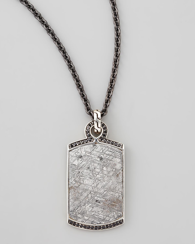 John hardy Batu Mens Meteorite Black Sapphire Dog Tag Necklace in Metallic fo