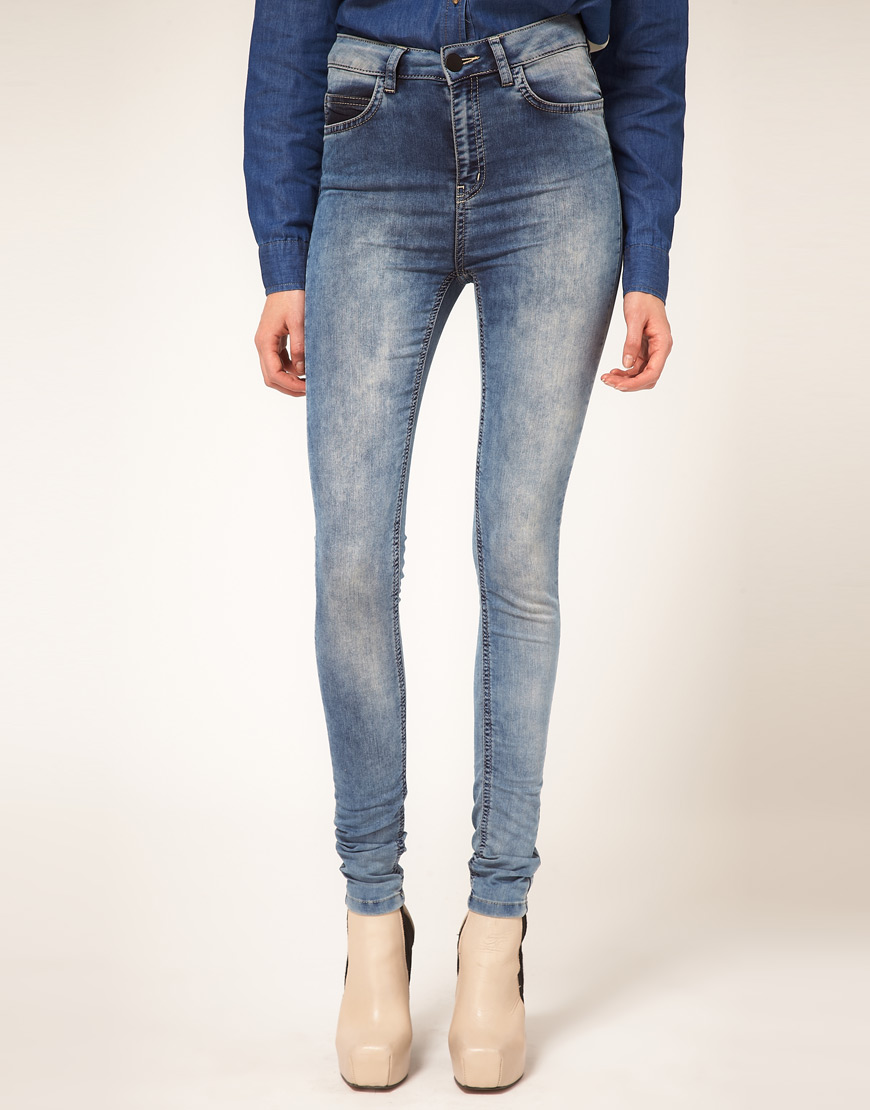 Asos Just Female Vintage High Waisted Skinny Jeans in Blue | Lyst