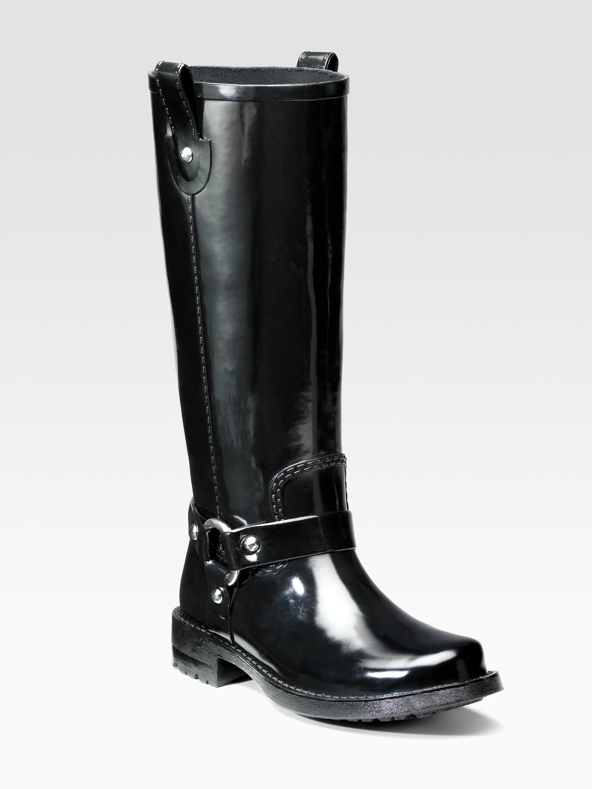 Kors By Michael Kors Stormy Moto Rubber Rain Boots In