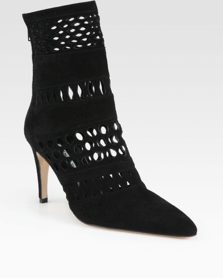 manolo blahnik suede cutout ankle boots in black lyst