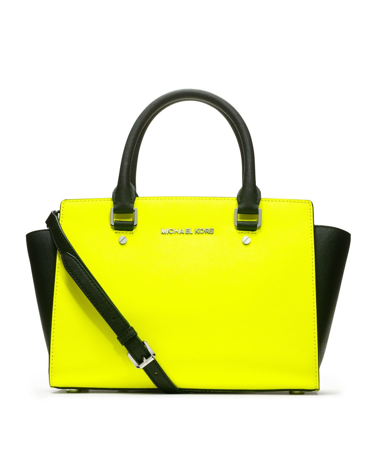 michael michael kors medium selma saffiano satchel in yellow neon yellow black lyst. Black Bedroom Furniture Sets. Home Design Ideas