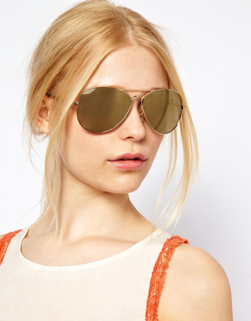 Lyst - Michael Kors Gold Mirrored Aviator Sunglasses in Metallic c2e3ddf631e