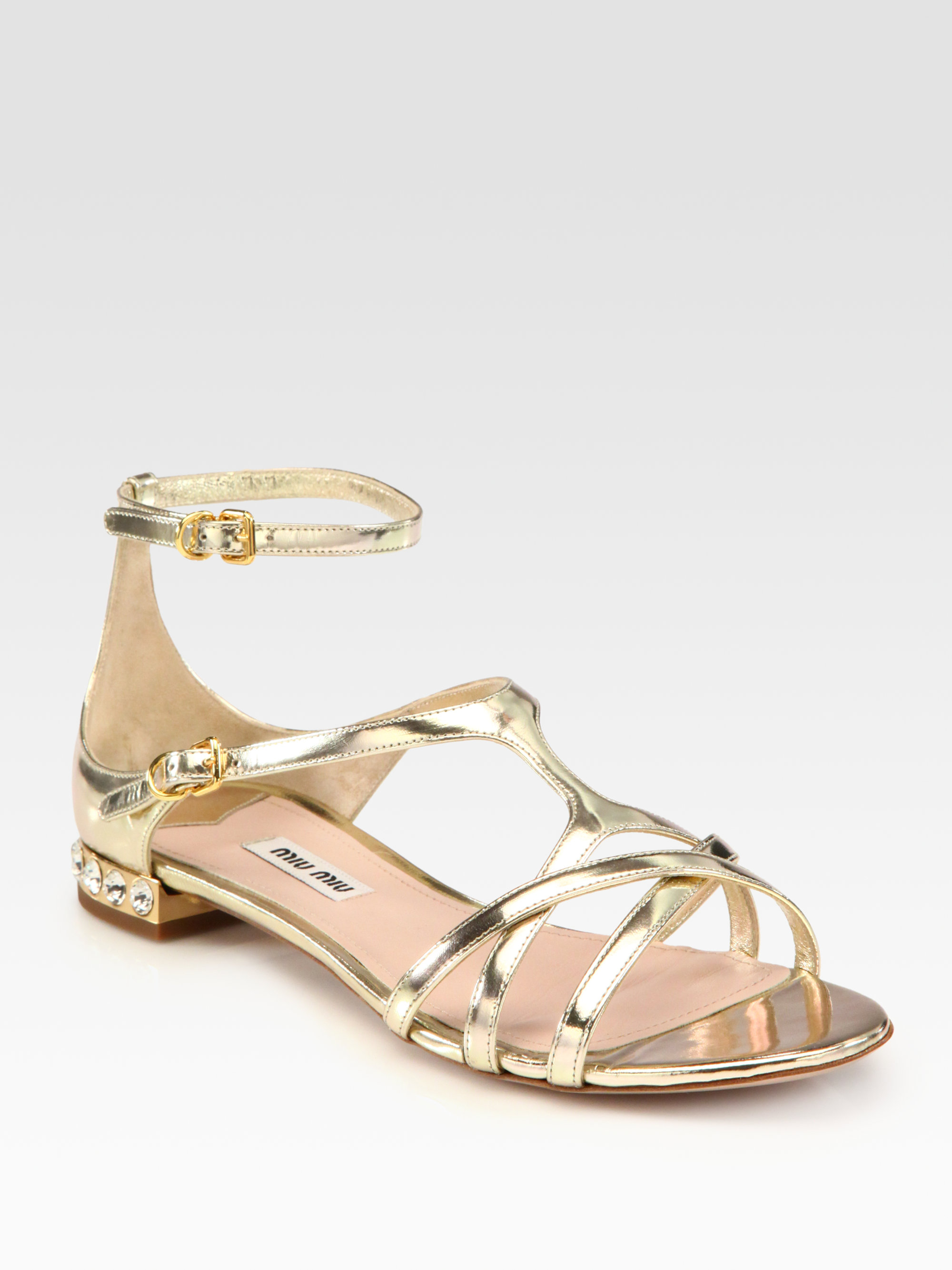 613bbc04ef1 Lyst - Miu Miu Metallic Leather Jewel Sandals in Metallic