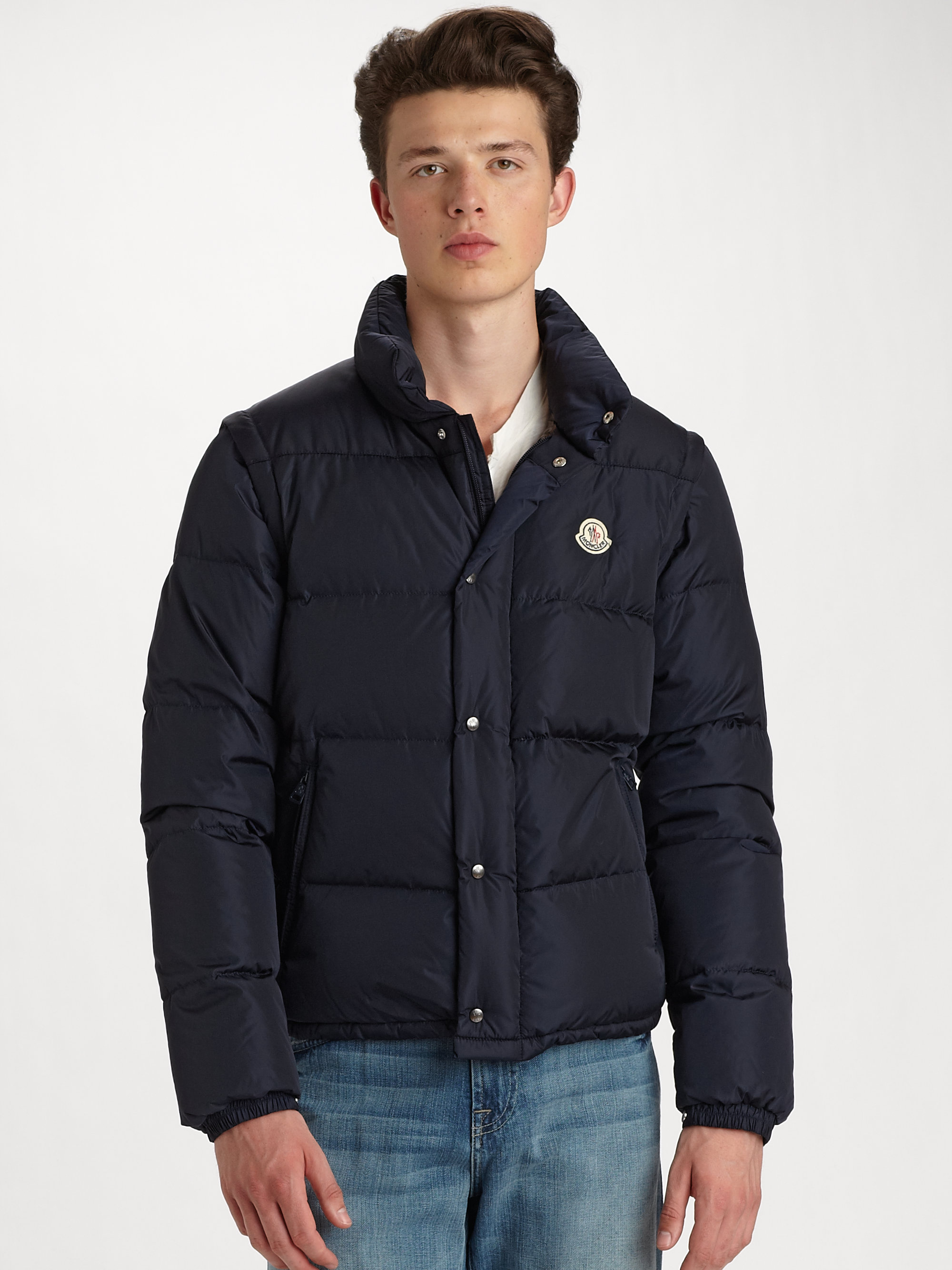Moncler Republique Down Bomber Jacket in Blue for Men | Lyst