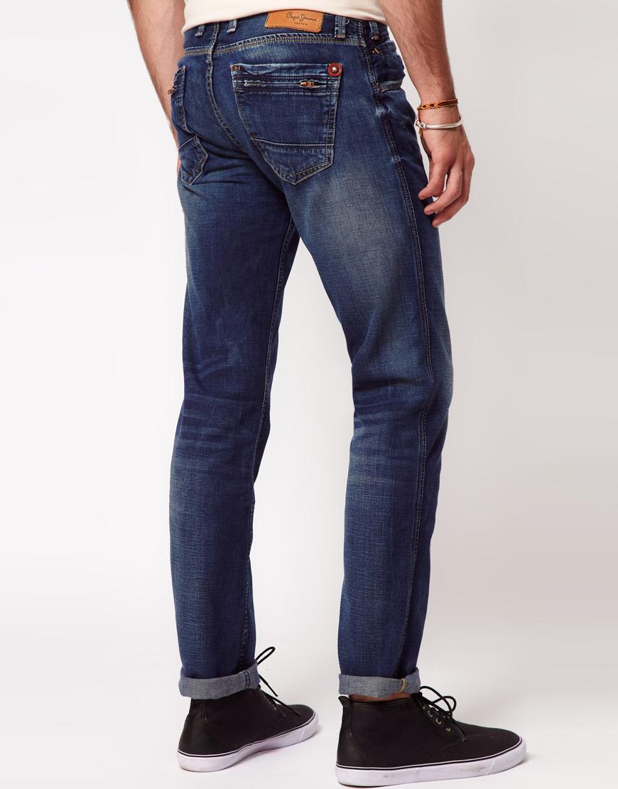 lyst pepe jeans slim frankie in blue for men. Black Bedroom Furniture Sets. Home Design Ideas