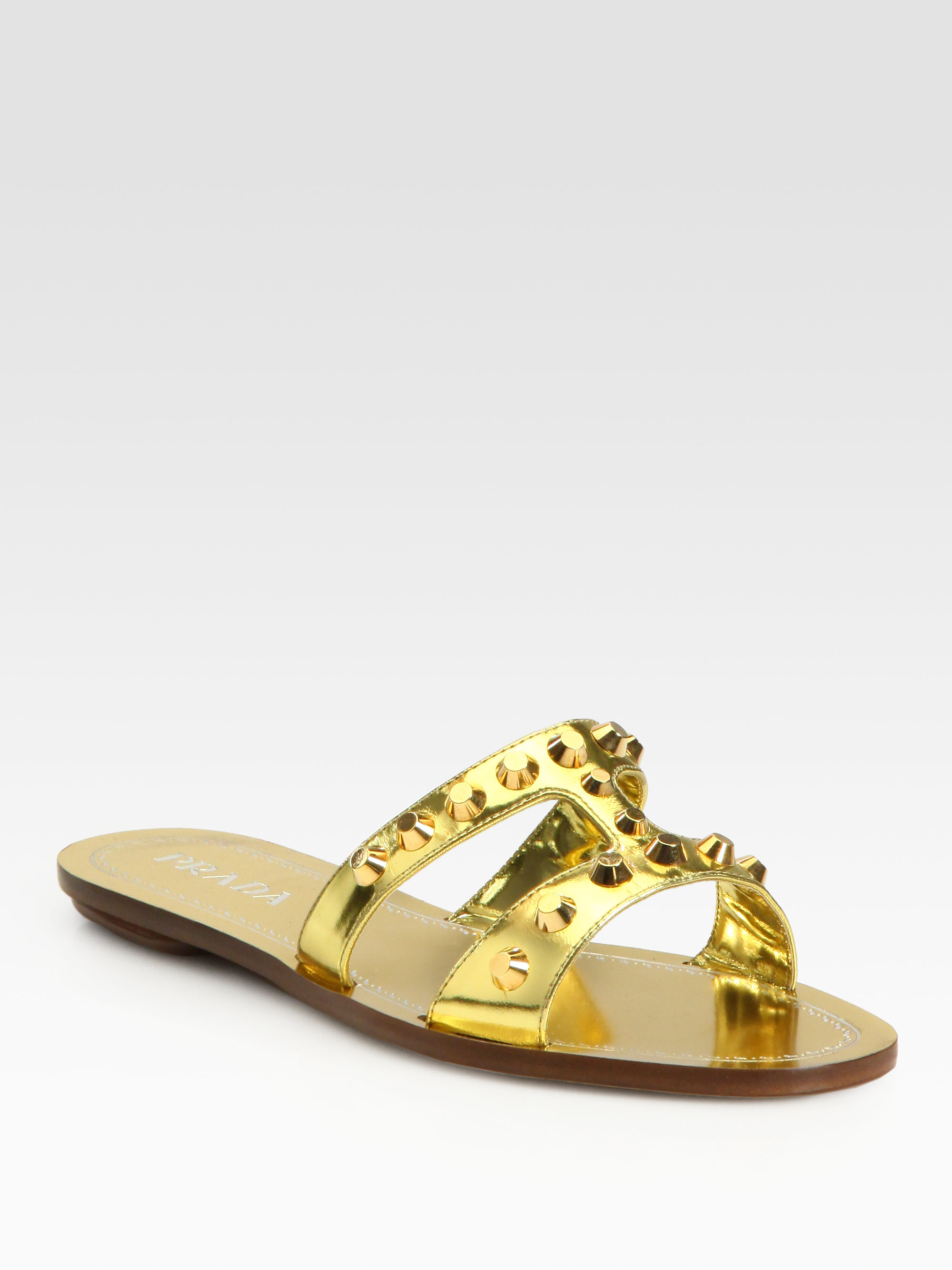 Prada Studded Leather Slide Sandals recommend sale online sale visa payment clearance 100% guaranteed 976WDZAu