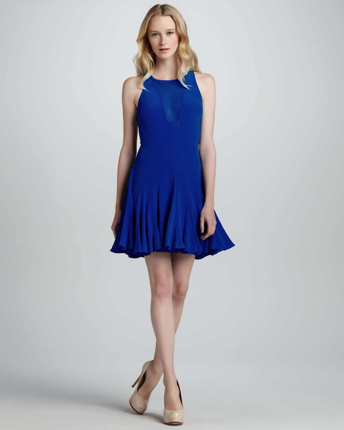 Rebecca taylor Pieced Godet Sheerinset Flare Dress in Blue - Lyst