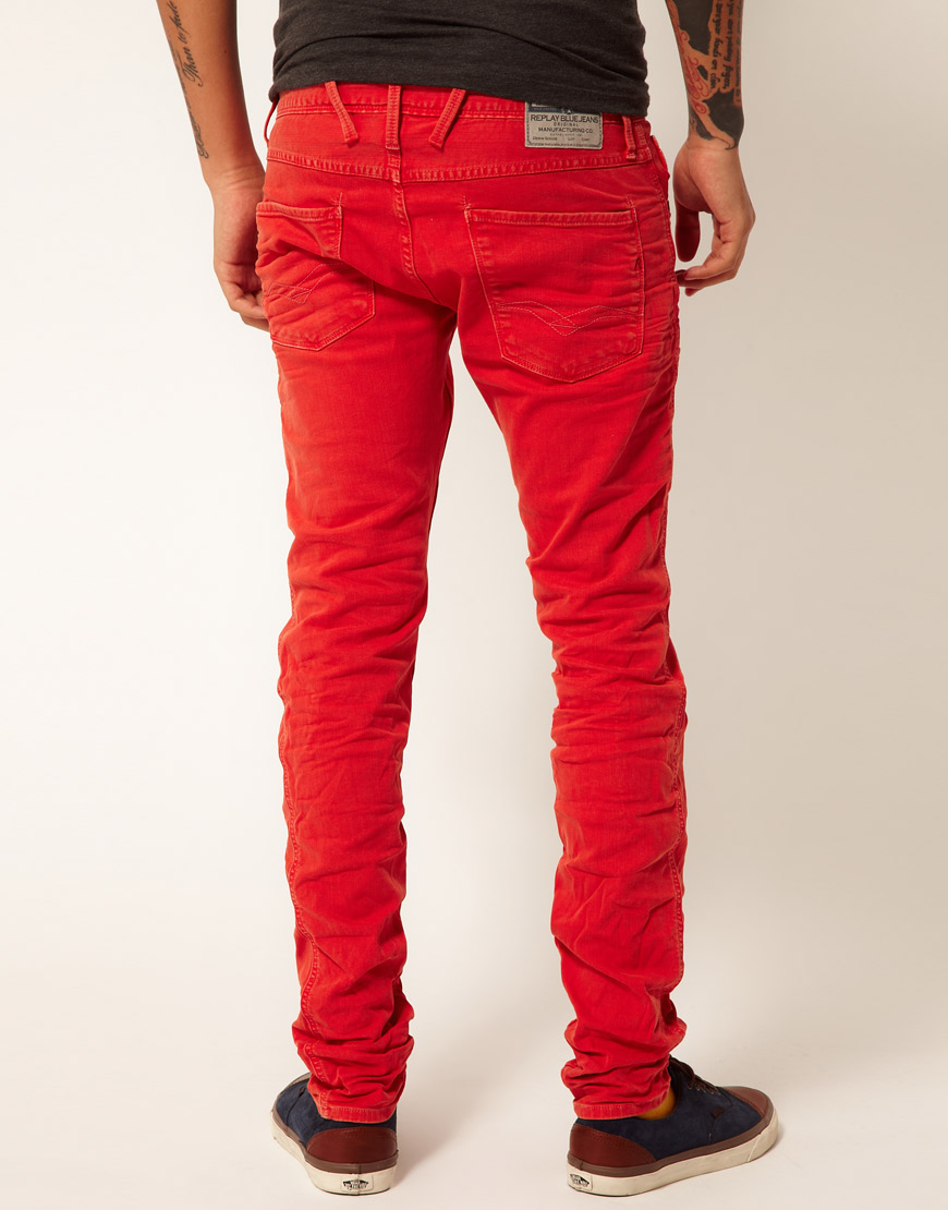 lyst replay jeans anbass regular slim fit red overdye