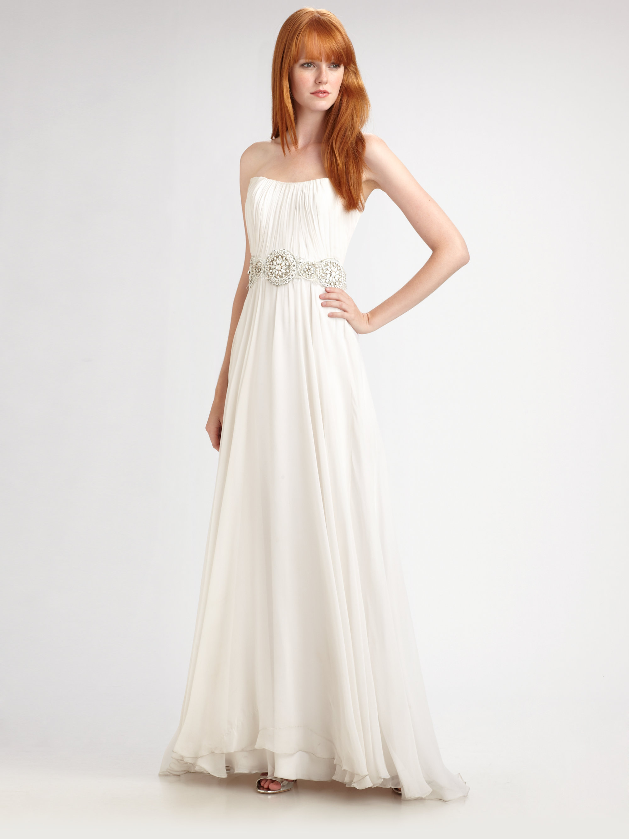 e4bbd3fe6bc Lyst - THEIA Beaded Silk Chiffon Strapless Gown in White