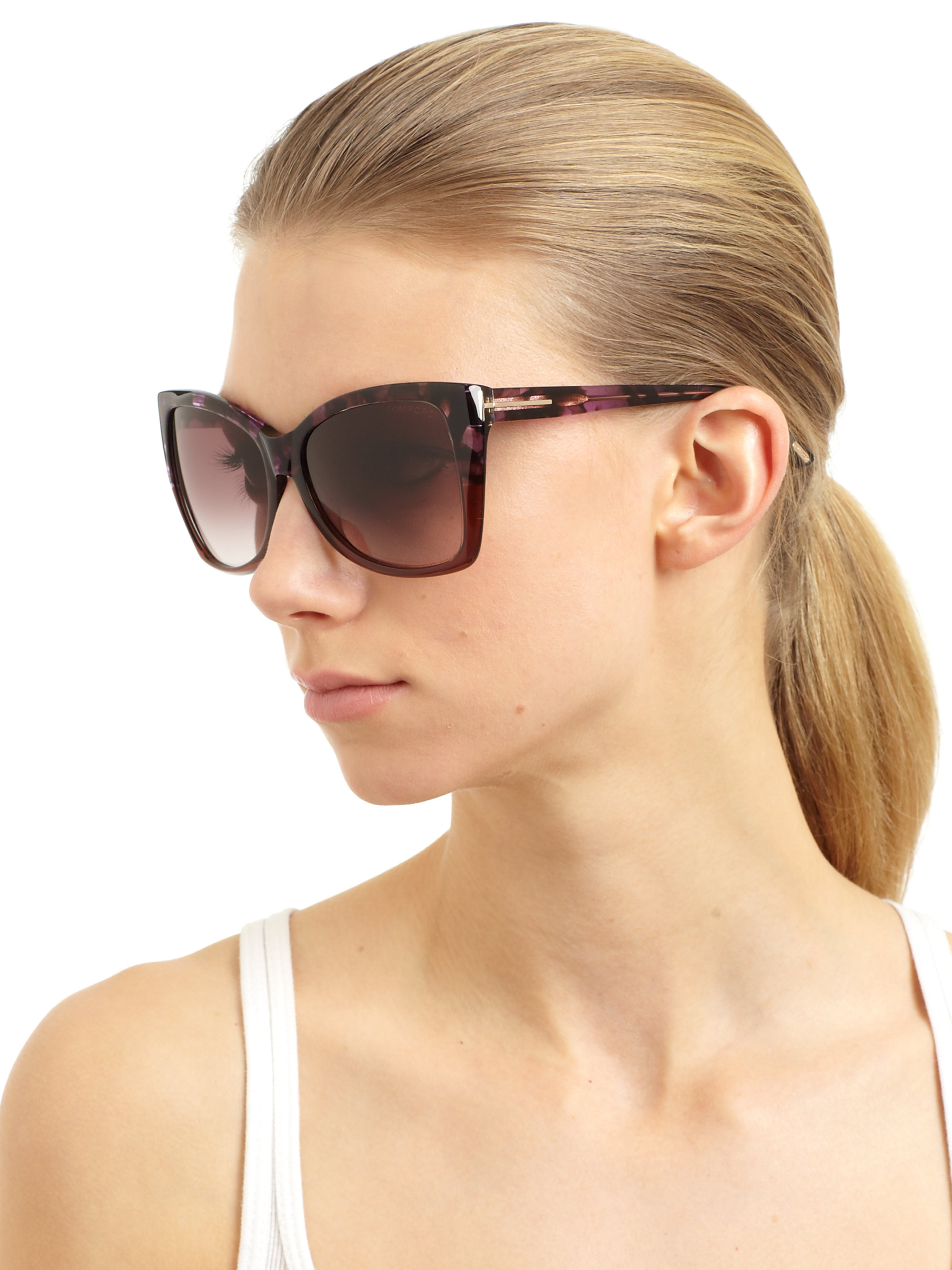 1fe877a36ed Lyst - Tom Ford Carli Oversized Catseye Textured Acetate Sunglasses ...