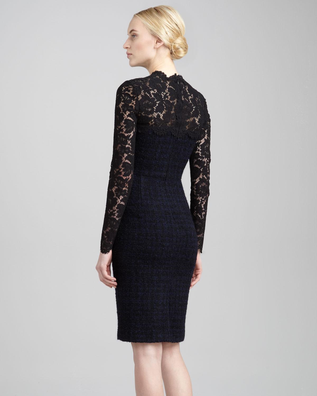Valentino Laceyoke Tweed Boucle Dress in Black
