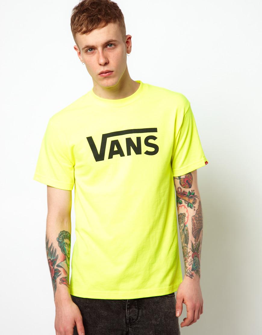 566b2d3aca Lyst - Vans T-shirt Neon Classic Logo in Yellow for Men