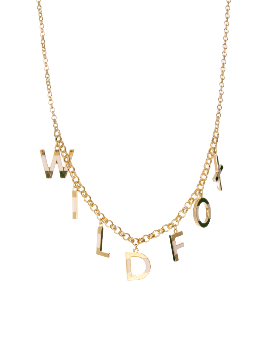 Wildfox letters necklace in gold goldsilver lyst for Letter s necklace gold
