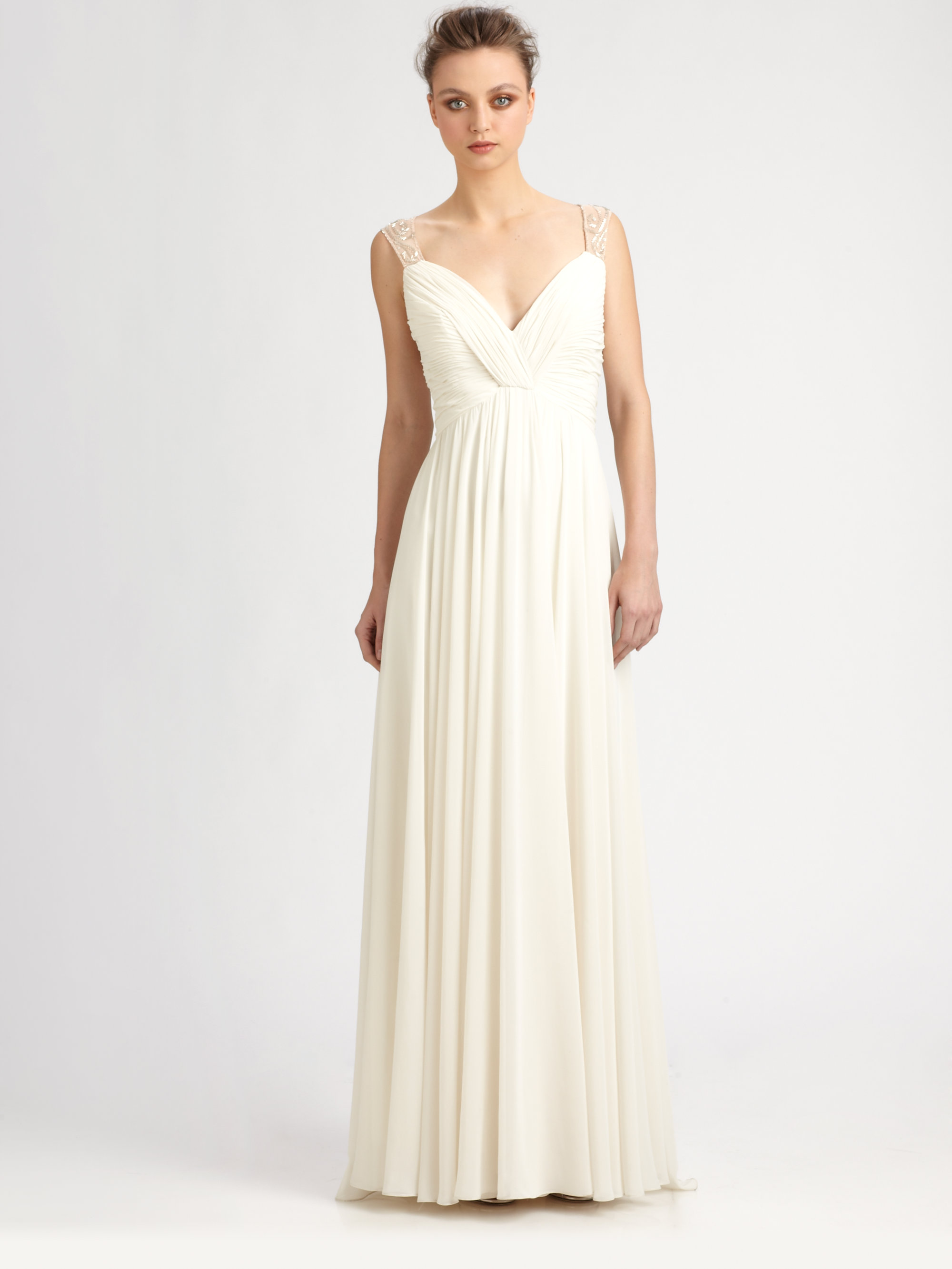 Lyst - Aidan Mattox Beaded Back Gown in White