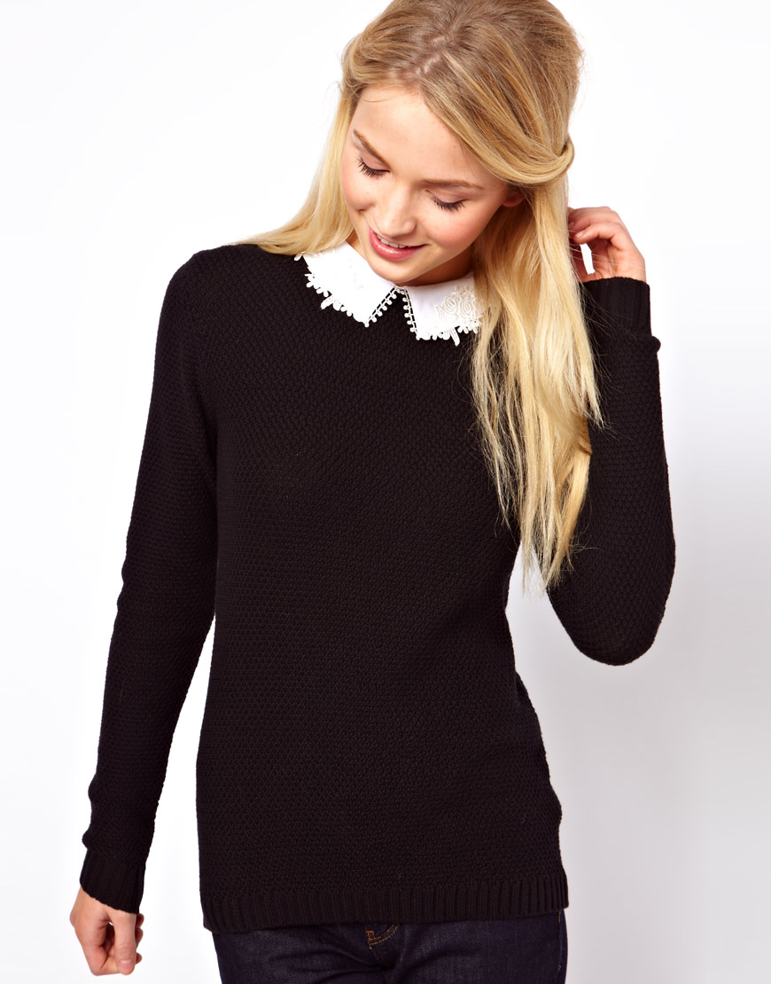 Lyst Asos Jumper With Lace Collar Detail In Black