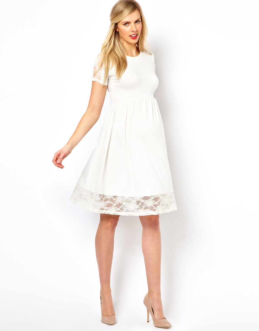 Maternity Exclusive Skater Dress With Lace Insert