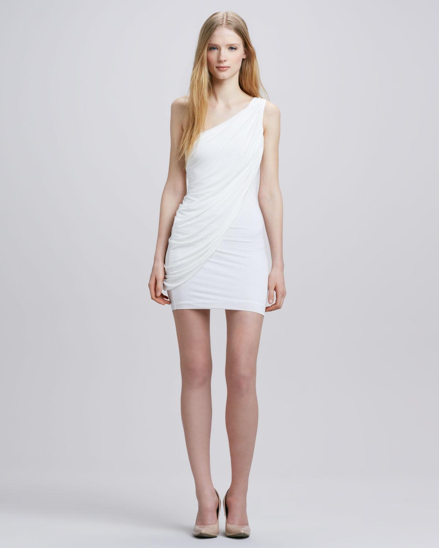 70b4475d6b Lyst - BCBGMAXAZRIA Draped Oneshoulder Dress in White
