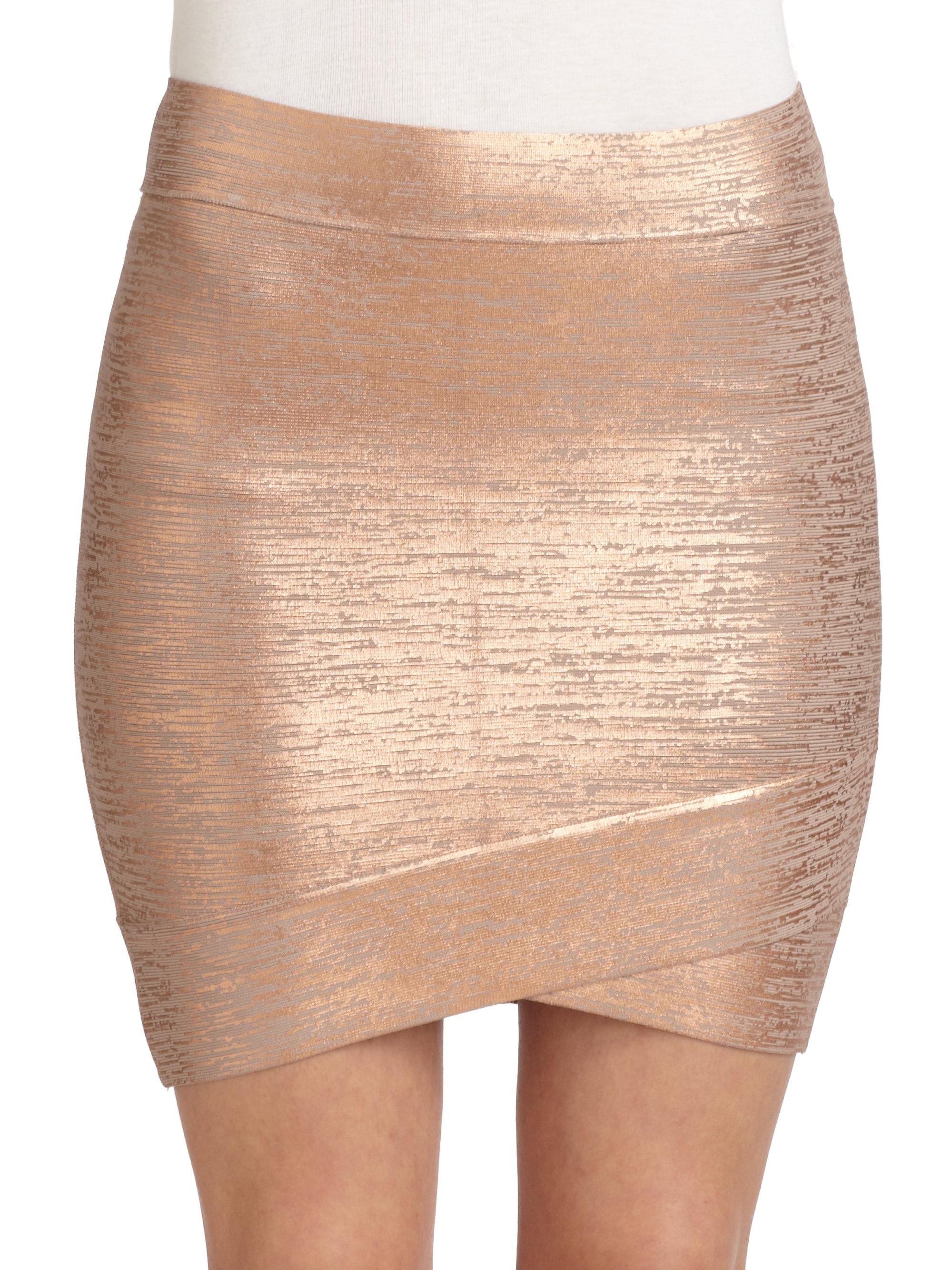 1ca7bb638 BCBGMAXAZRIA Silvie Foil Print Bandage Skirt in Metallic - Lyst
