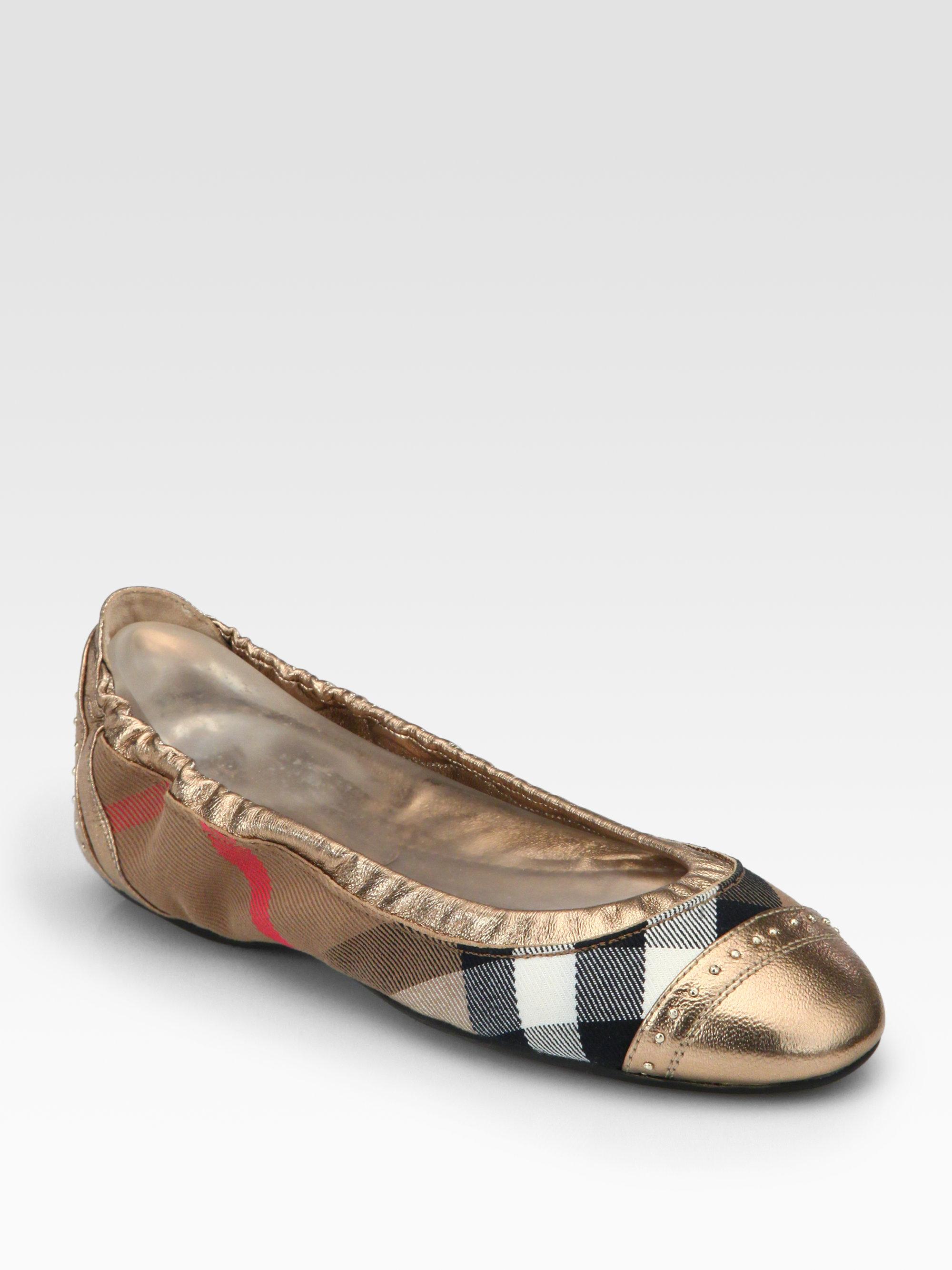 burberry southwark check canvas metallic leather ballet