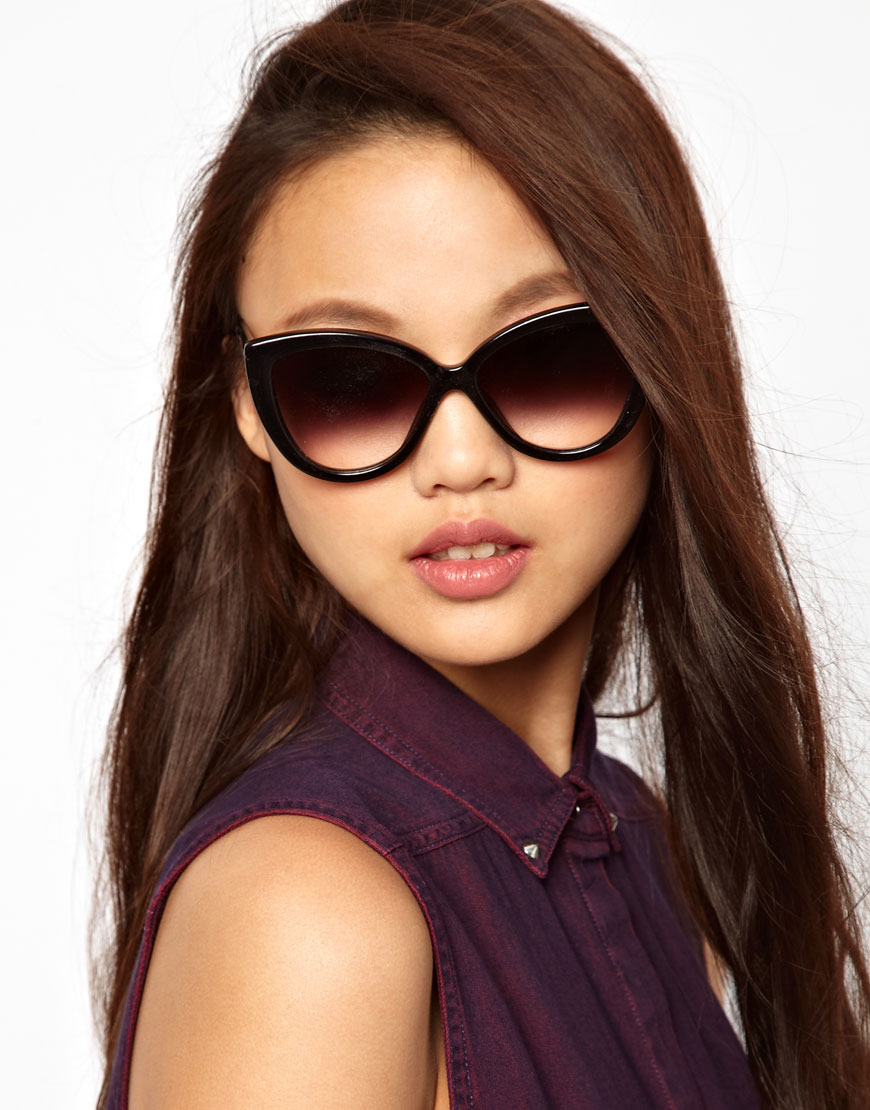 Oversized Cat Sunglasses  monday point oversized cat eye sunglasses in black lyst