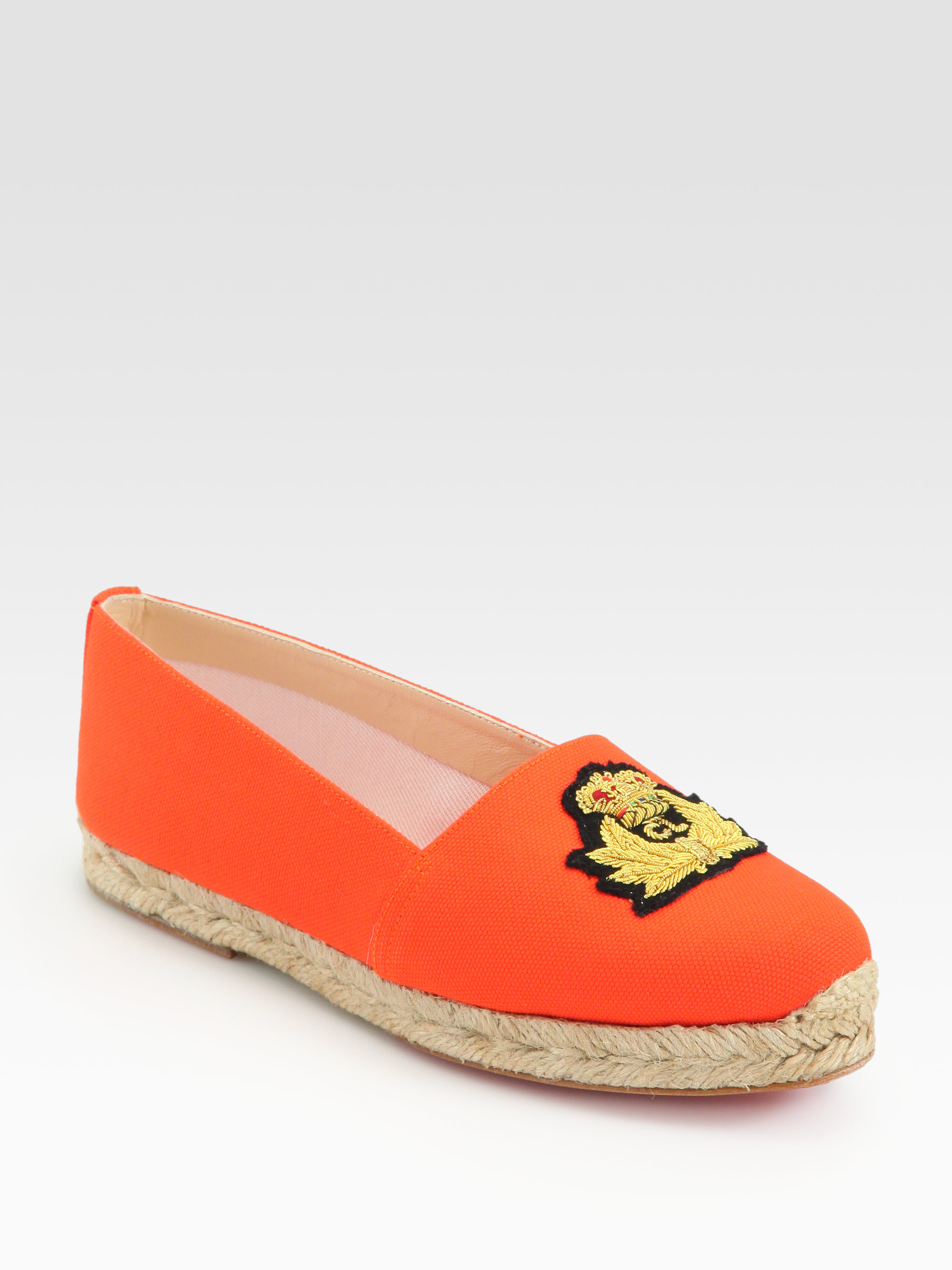 meet a490f 61f71 Christian Louboutin Orange Galia Canvas Espadrilles