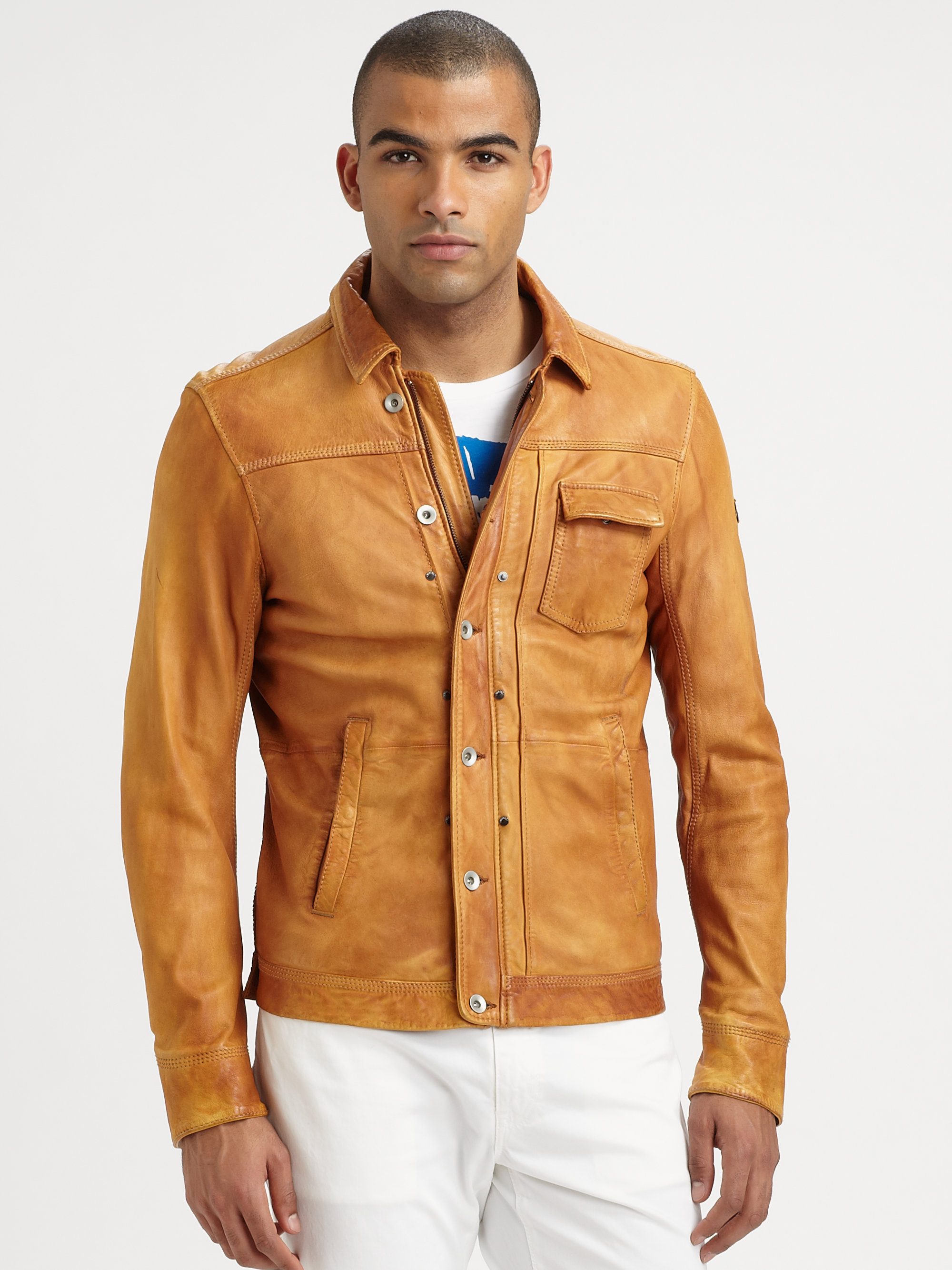 Diesel Laurence Leather Jacket in Brown for Men | Lyst