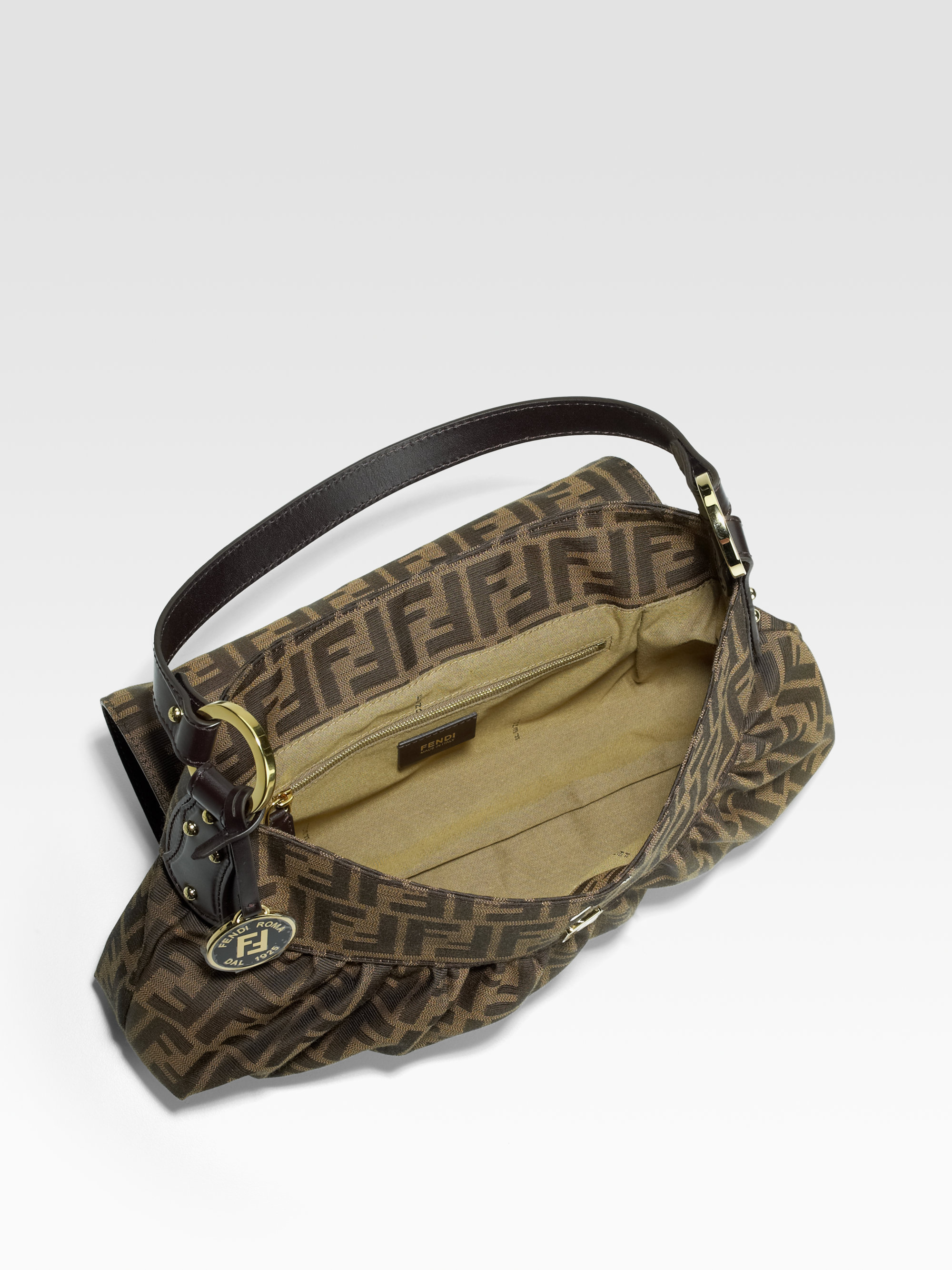 get fendi zucca chef medium shoulder bag tobacco 81189 2c852 d6b24  buy  fendi grande borsa chef jacquard bag in brown dark brown lyst 4d81b 82966 fb8342ee00bf3