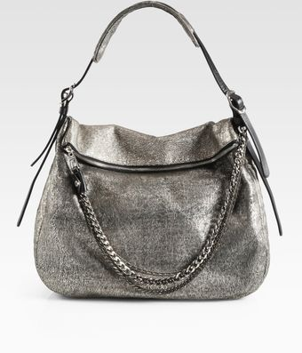 Jimmy Choo Biker Cracked Metallic Leather Hobo - Lyst