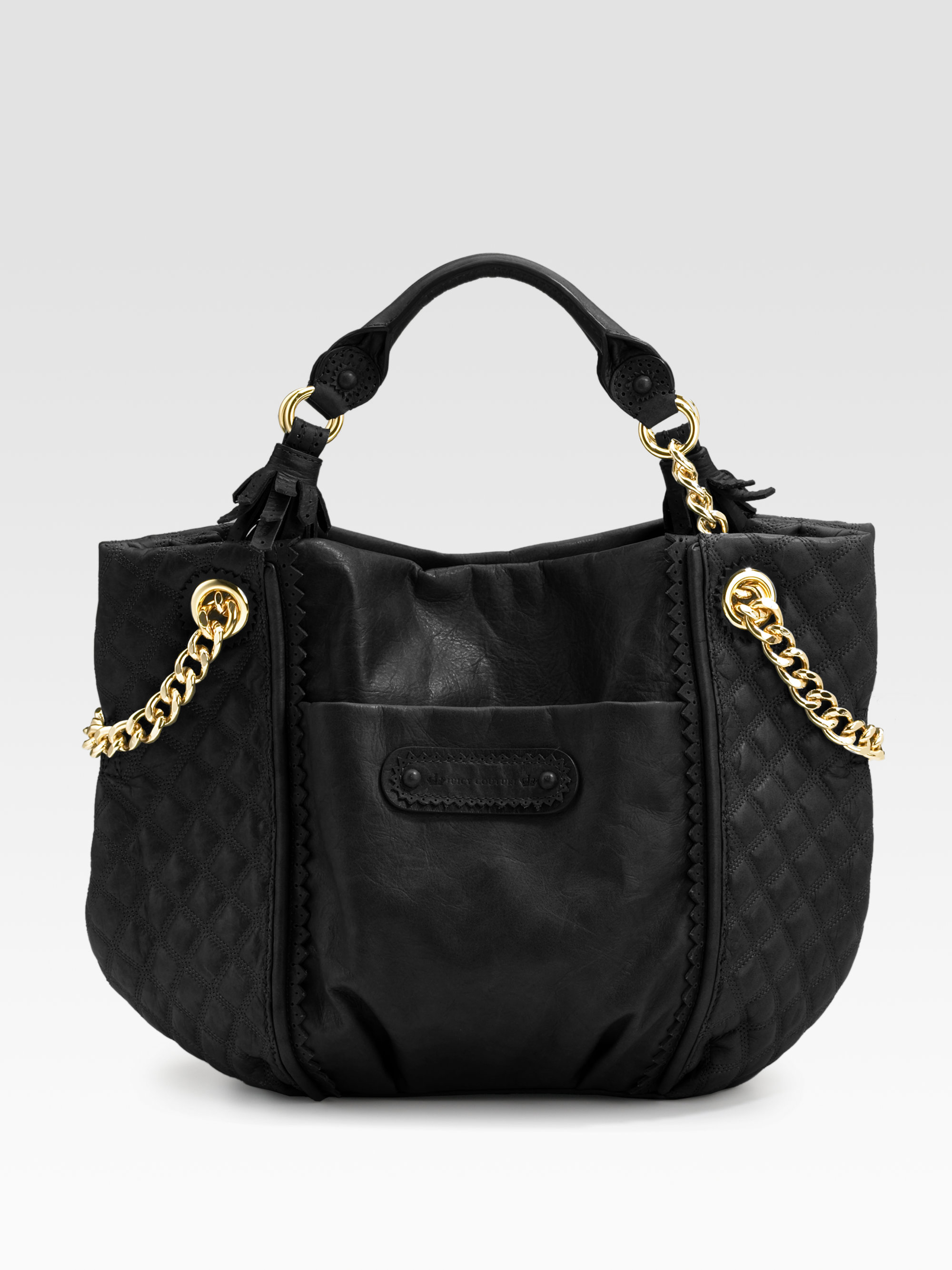 Lyst Juicy Couture Brogue Leather Ss Tote Bag In Black