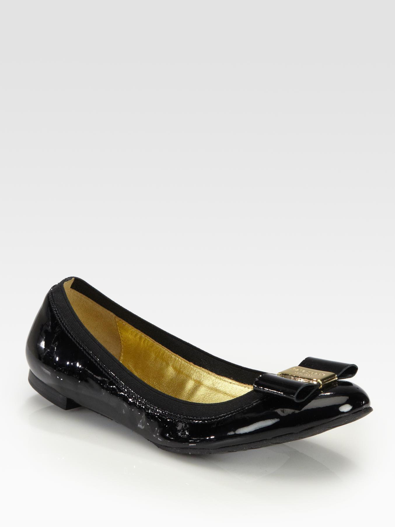 9963a2dfd1ba kate spade new york - Black Tock Patent Leather Bow Ballet Flats - Lyst