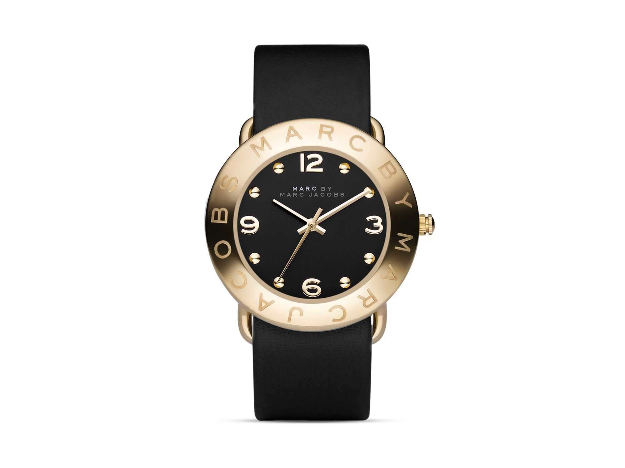 Lyst - Marc By Marc Jacobs Amy 36mm Black Leather Strap ...