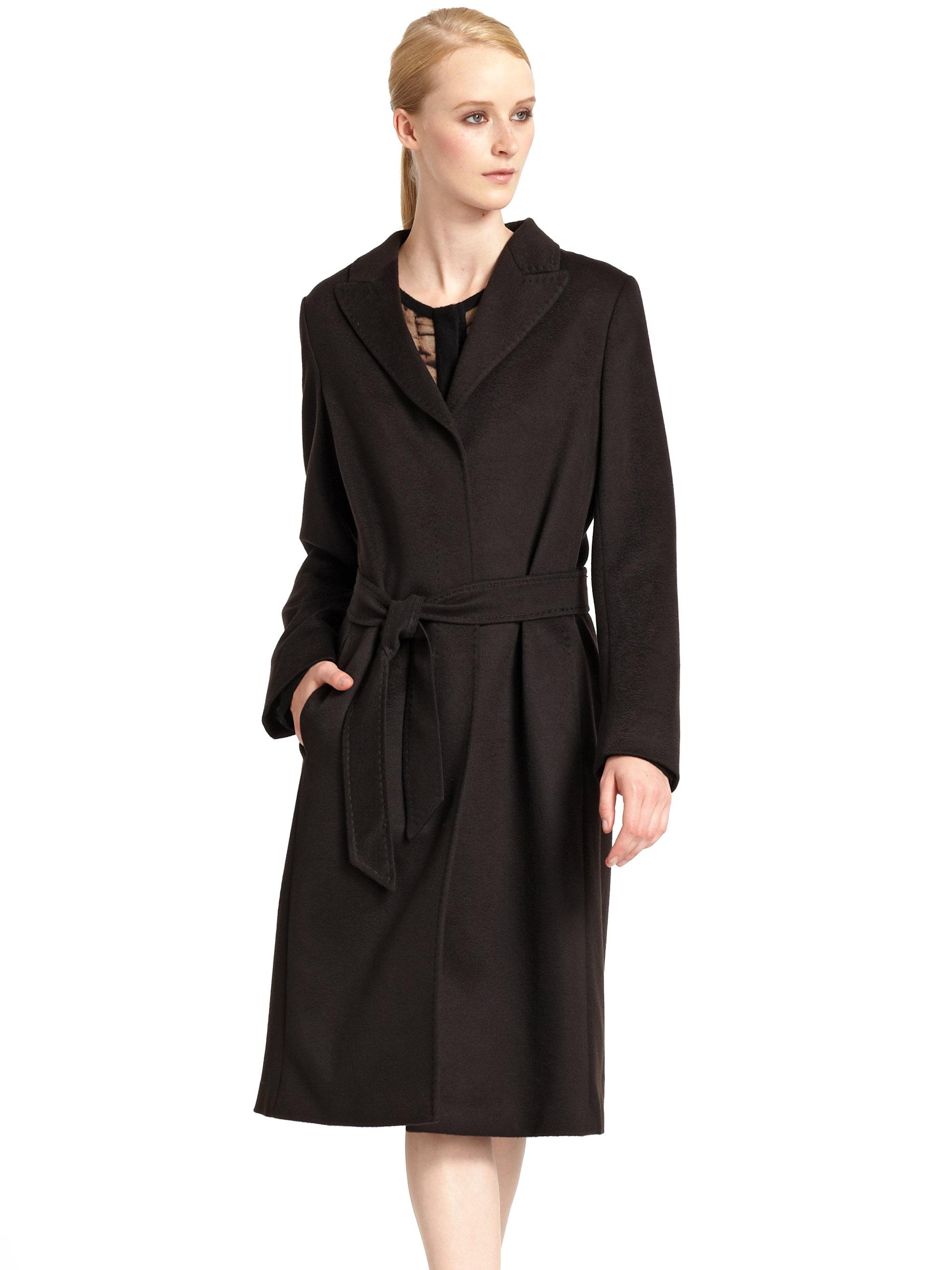 Max mara studio Rapido Cashmere Coat in Black | Lyst