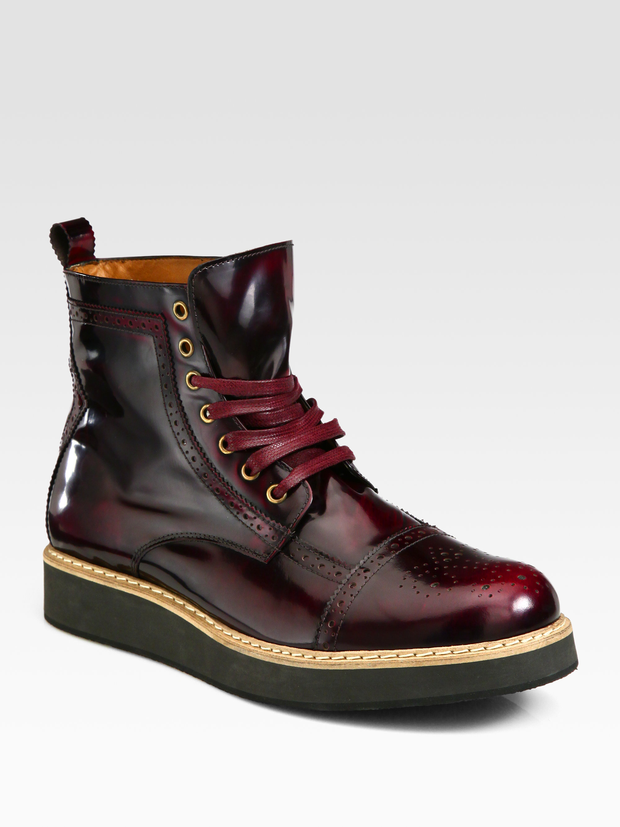 Mcq Derby Toe Brogue Boots in Purple for Men - Lyst