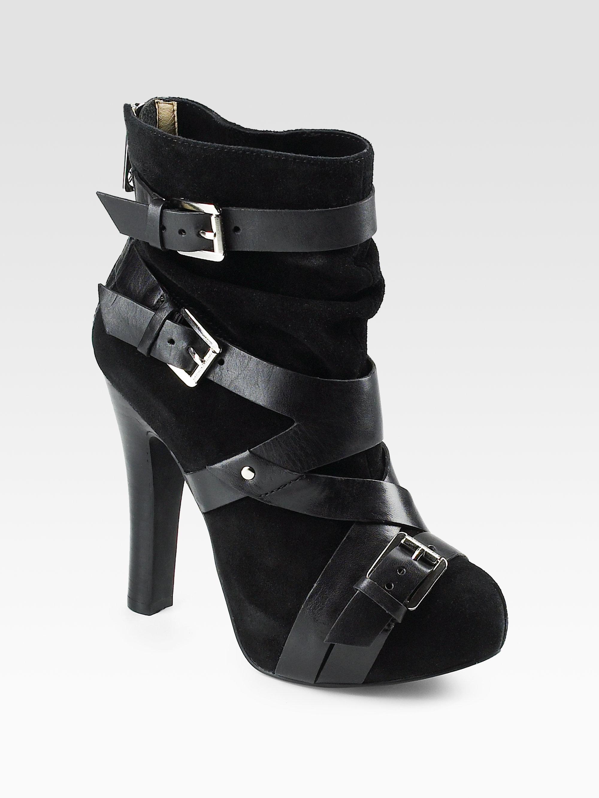 michael michael kors tatum suede ankle boots in black lyst. Black Bedroom Furniture Sets. Home Design Ideas