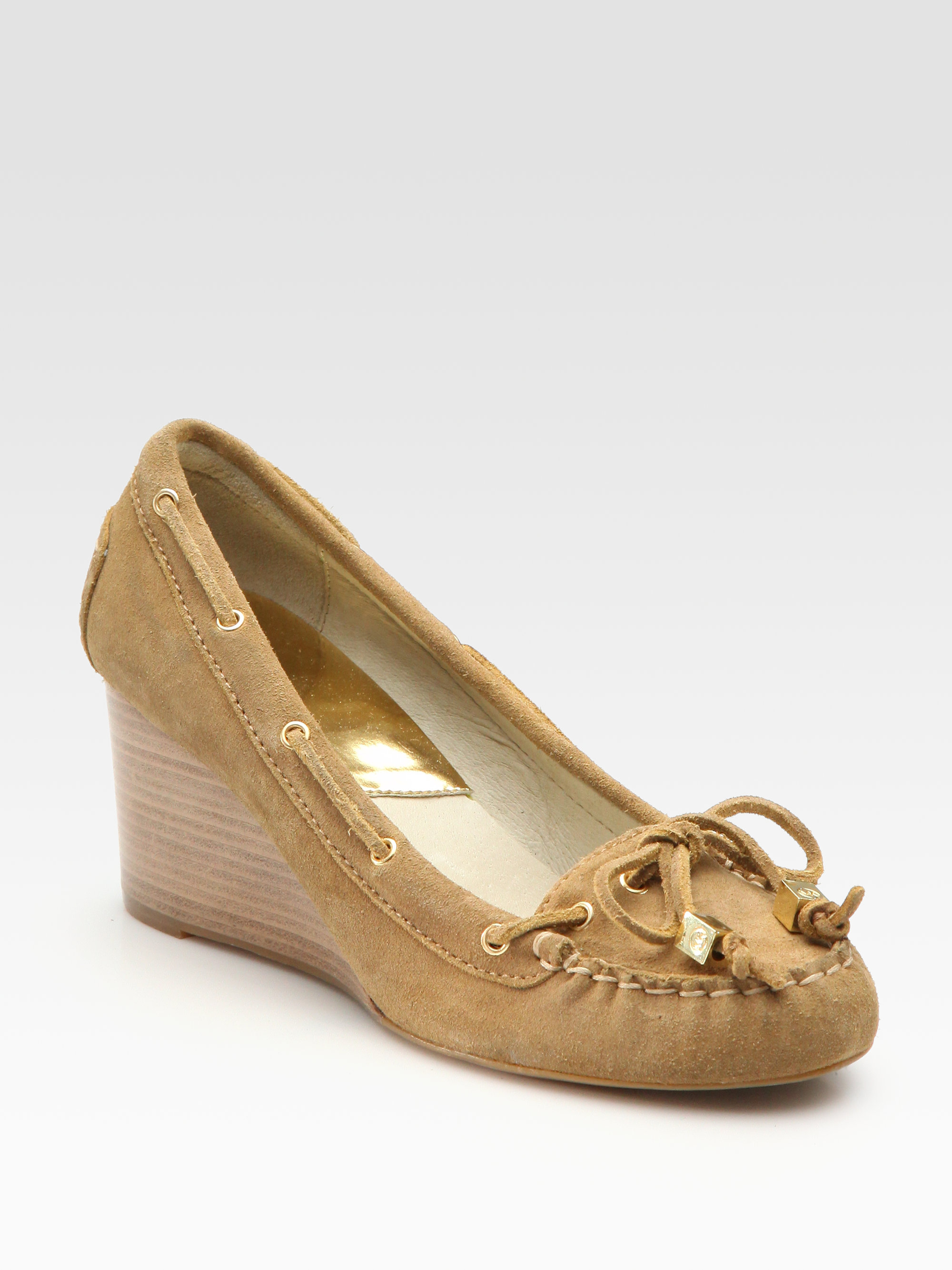 412df46d8c1 Lyst - MICHAEL Michael Kors Amber Suede Moccasin Wedges in Natural