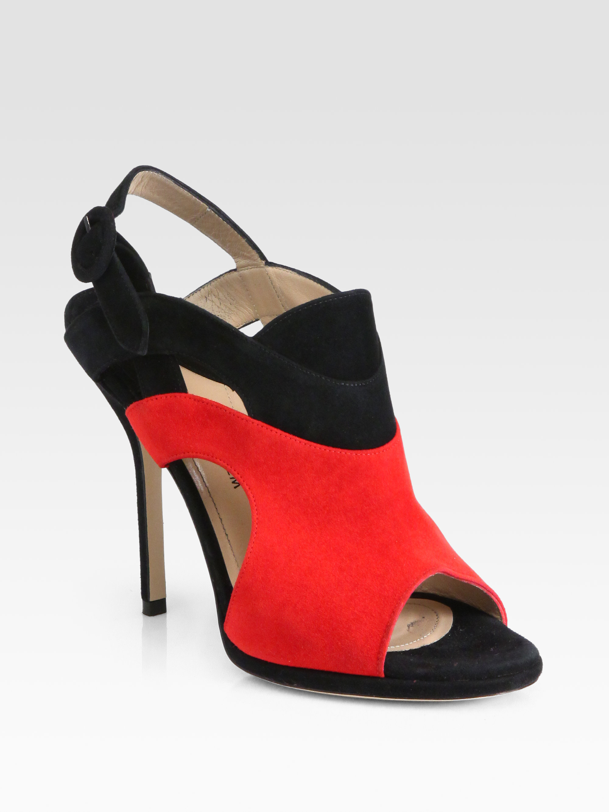 Paul Andrew Artemis Suede Slingback Sandals in Red (black ...