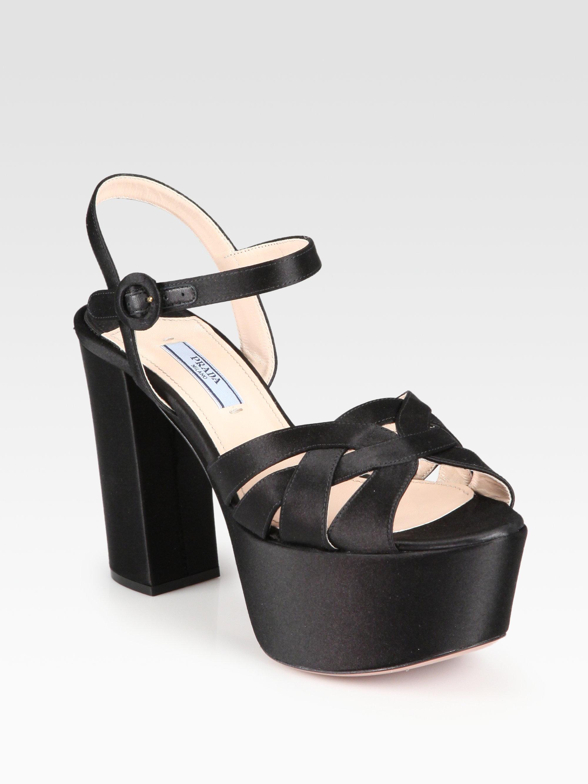 8cd8ebbcffd6 Lyst - Prada Satin Platform Sandals in Black