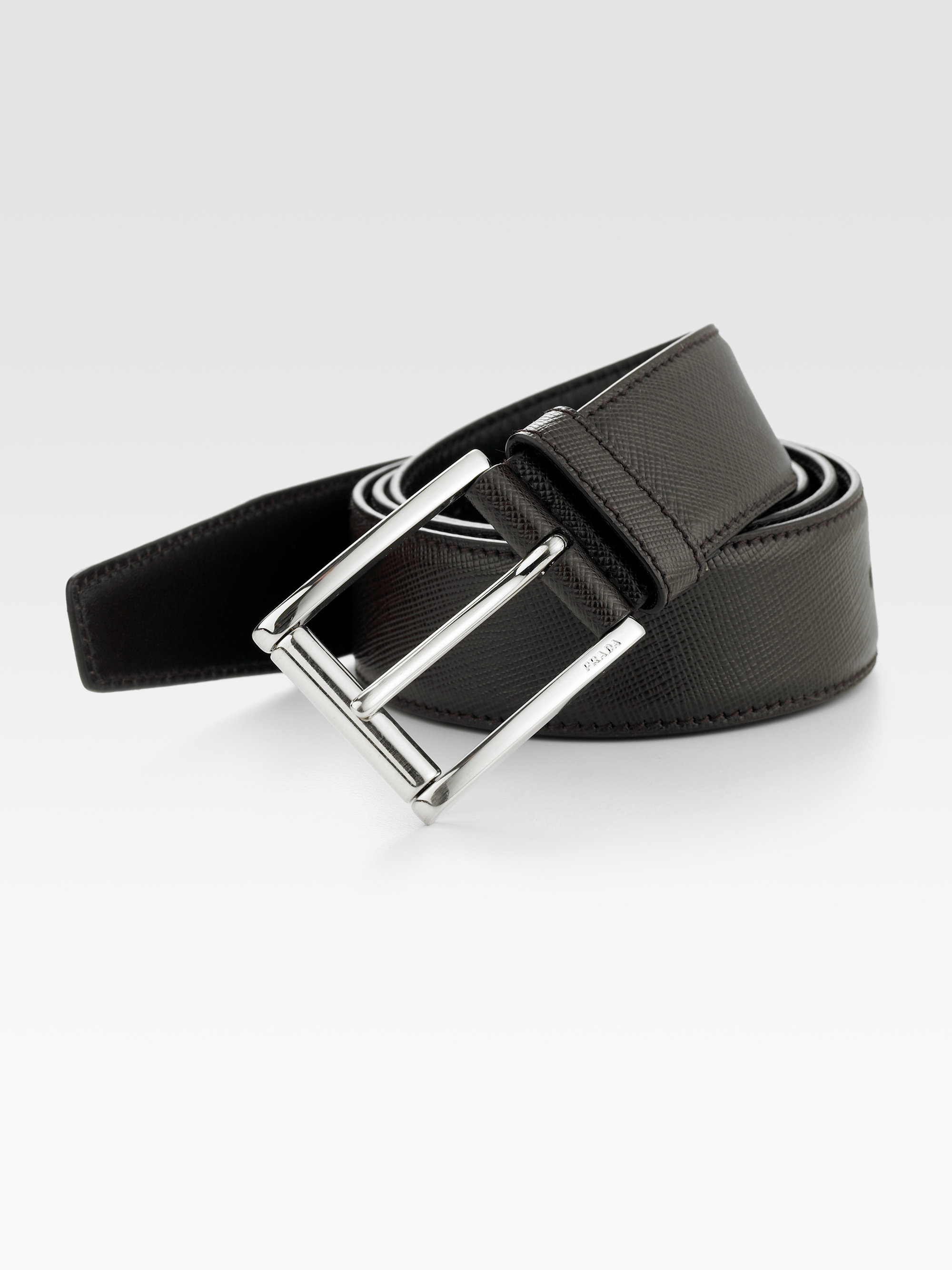 9576be4a6f Prada Brown Etched Saffiano Leather Belt for men
