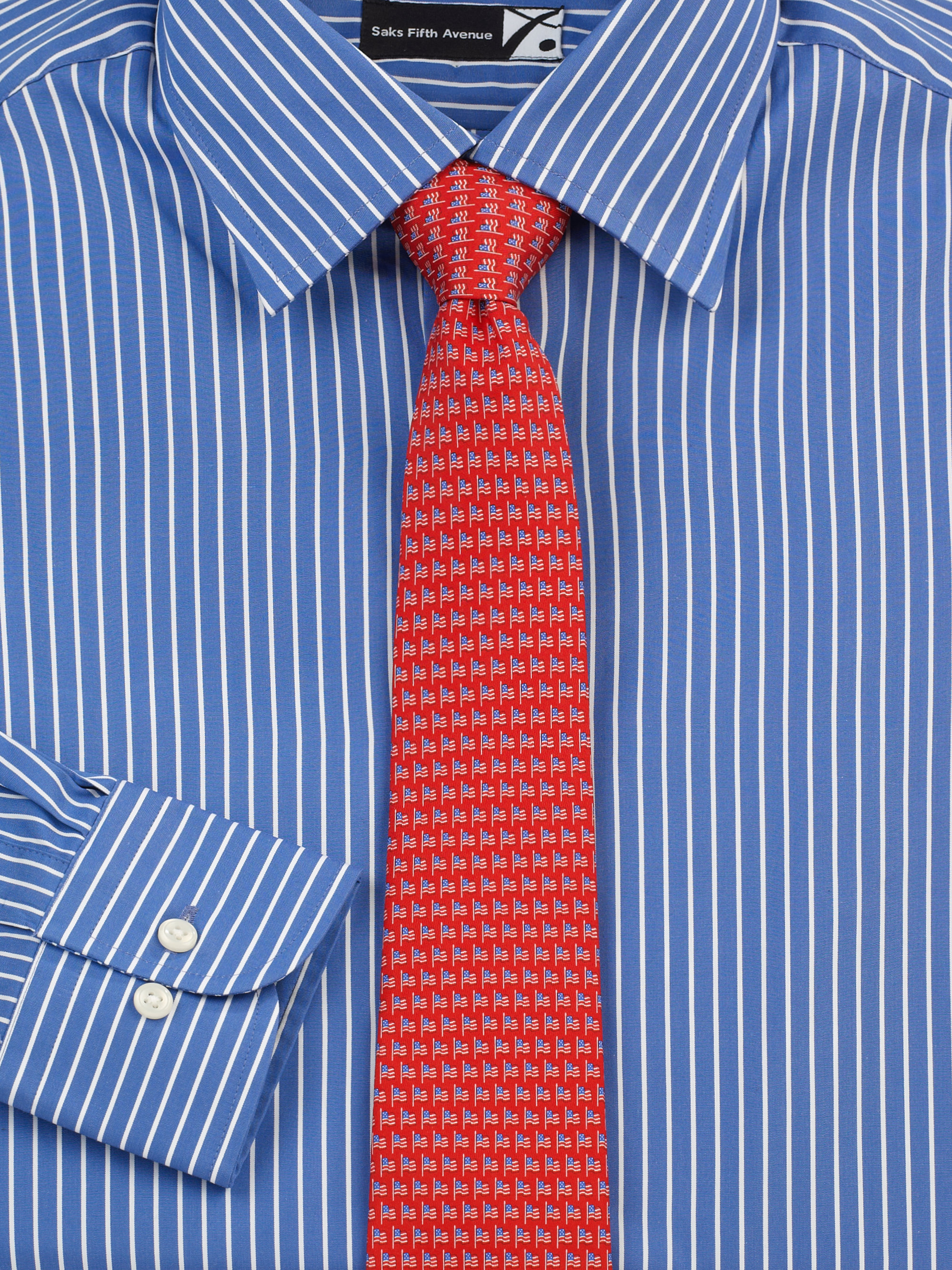 Saks fifth avenue striped dress shirt in blue for men lyst for Mens red and white striped dress shirt