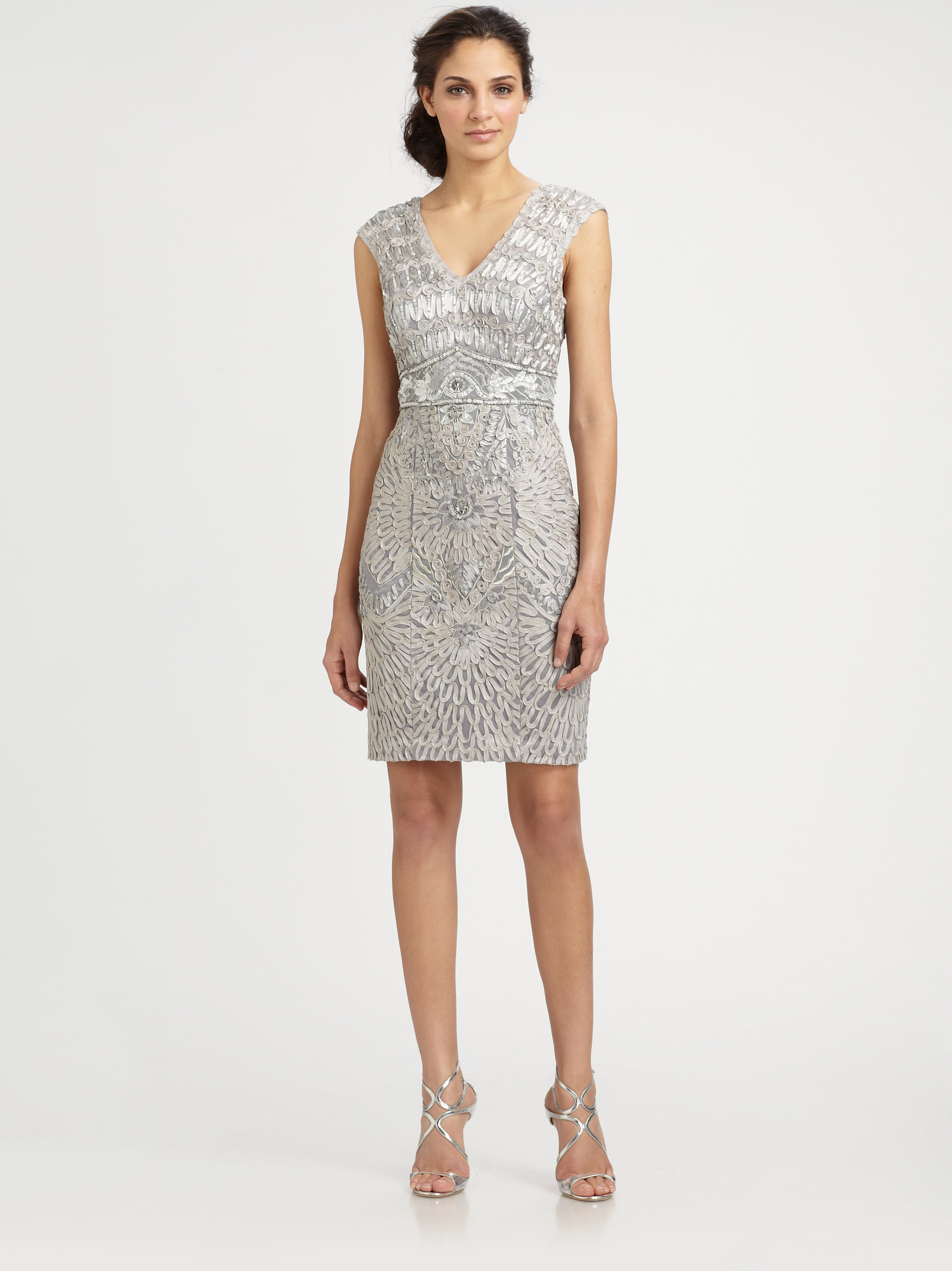 Lyst sue wong embroidered capsleeve dress in gray for Sue wong robes de mariage