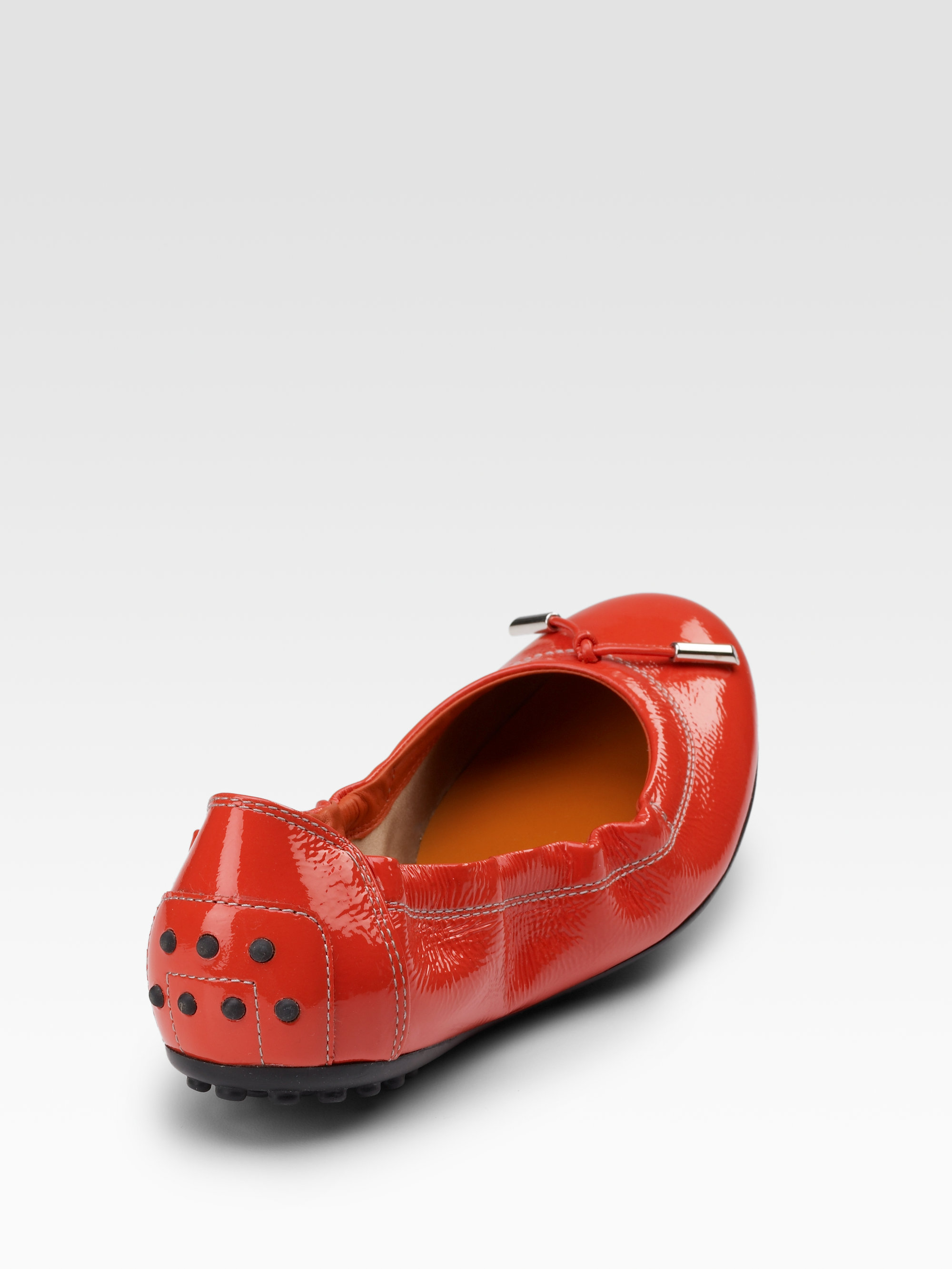 Lyst Tod S Patent Leather Ballet Flats In Red
