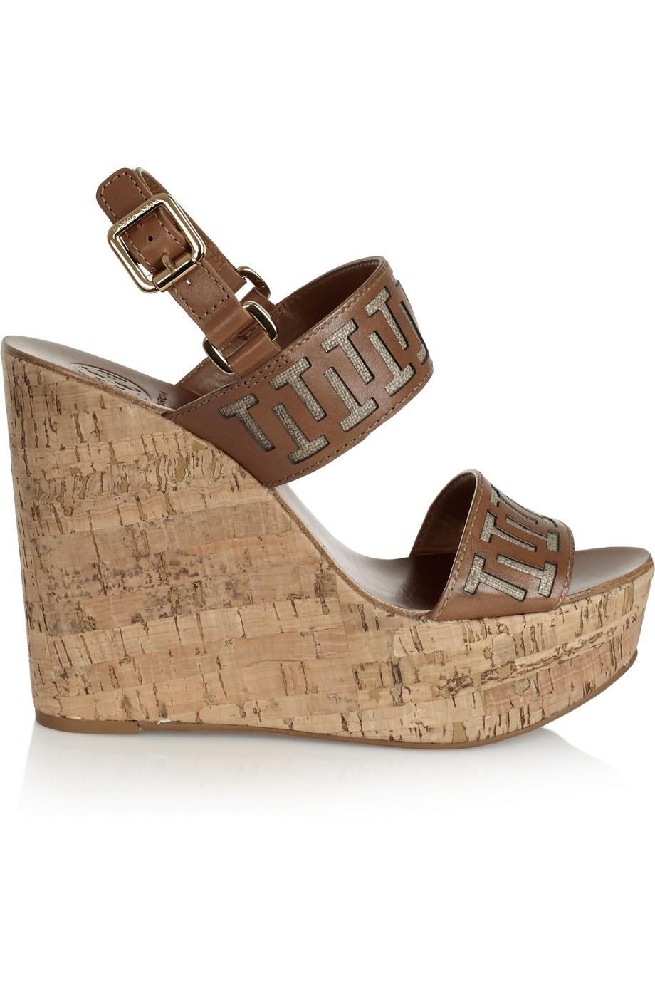 Tory Burch Regan Leather Wedge Sandals In Brown Lyst
