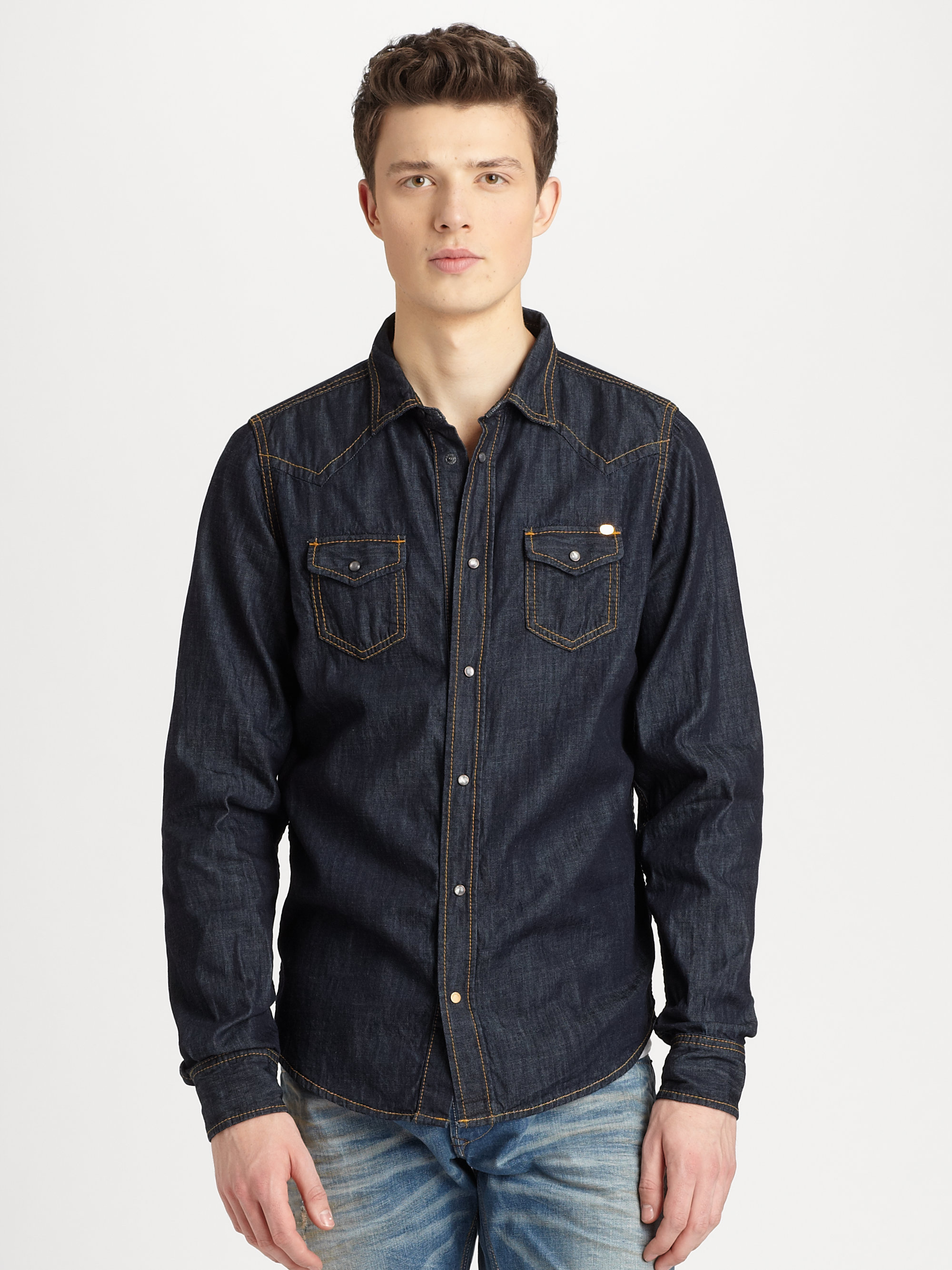 1d264bab526 Lyst - DIESEL Sonora Western Denim Shirt in Blue for Men
