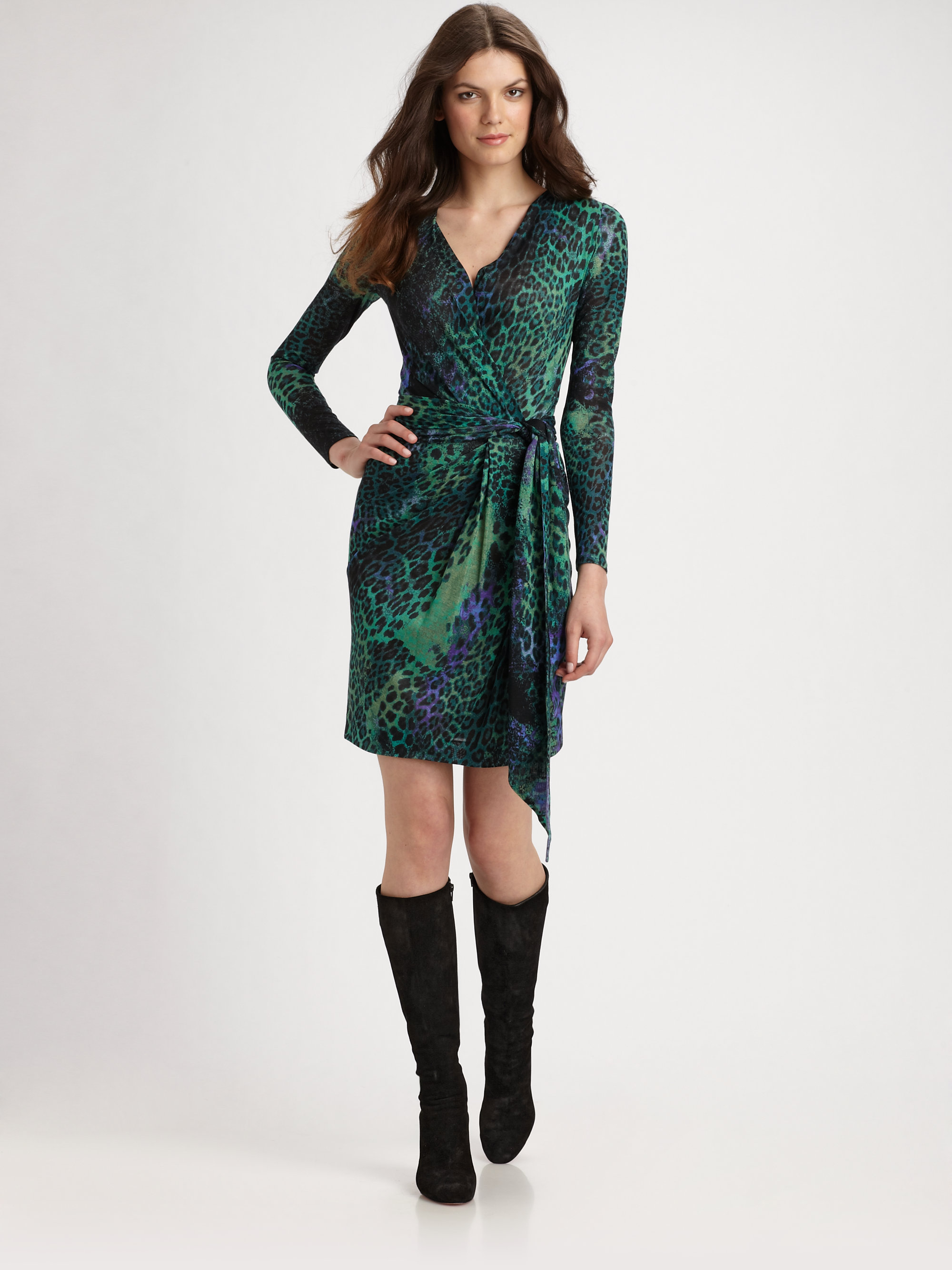 Emilio Pucci Faux Wrap Jersey Dress In Green Lyst