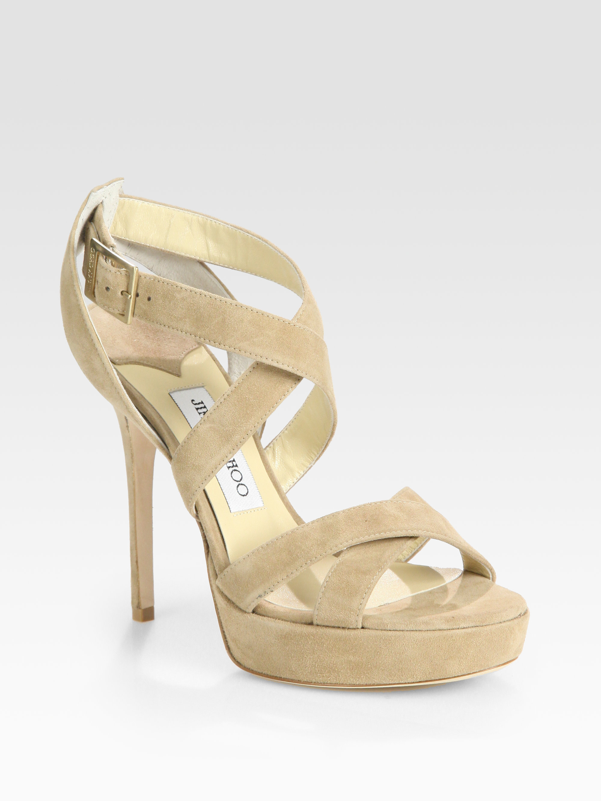 de02741cc60f Lyst - Jimmy Choo Vamp Sue Strappy Suede Platform Sandals in Natural