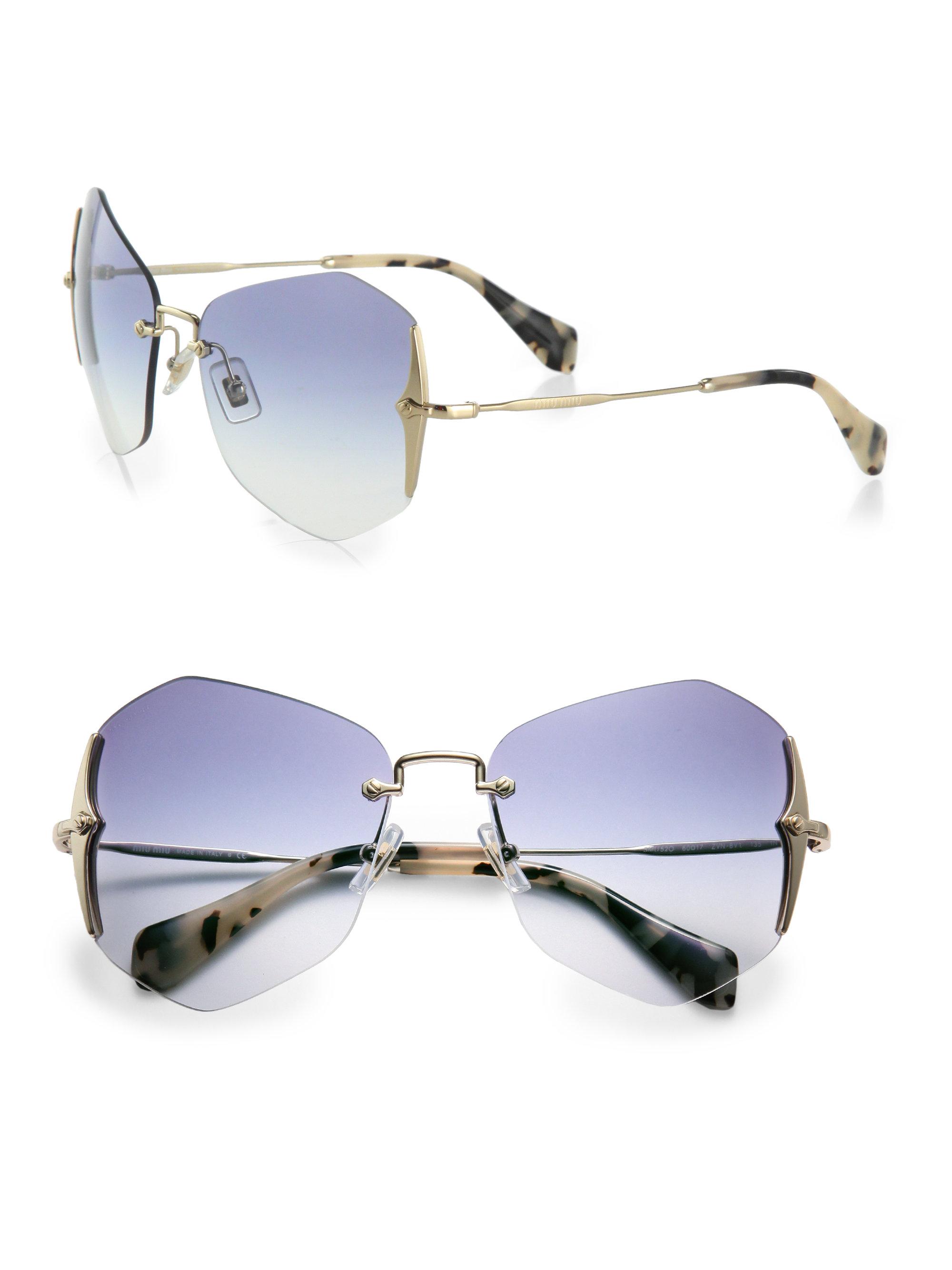e86279408fa Lyst - Miu Miu Irregular Rimless Sunglasses in Blue
