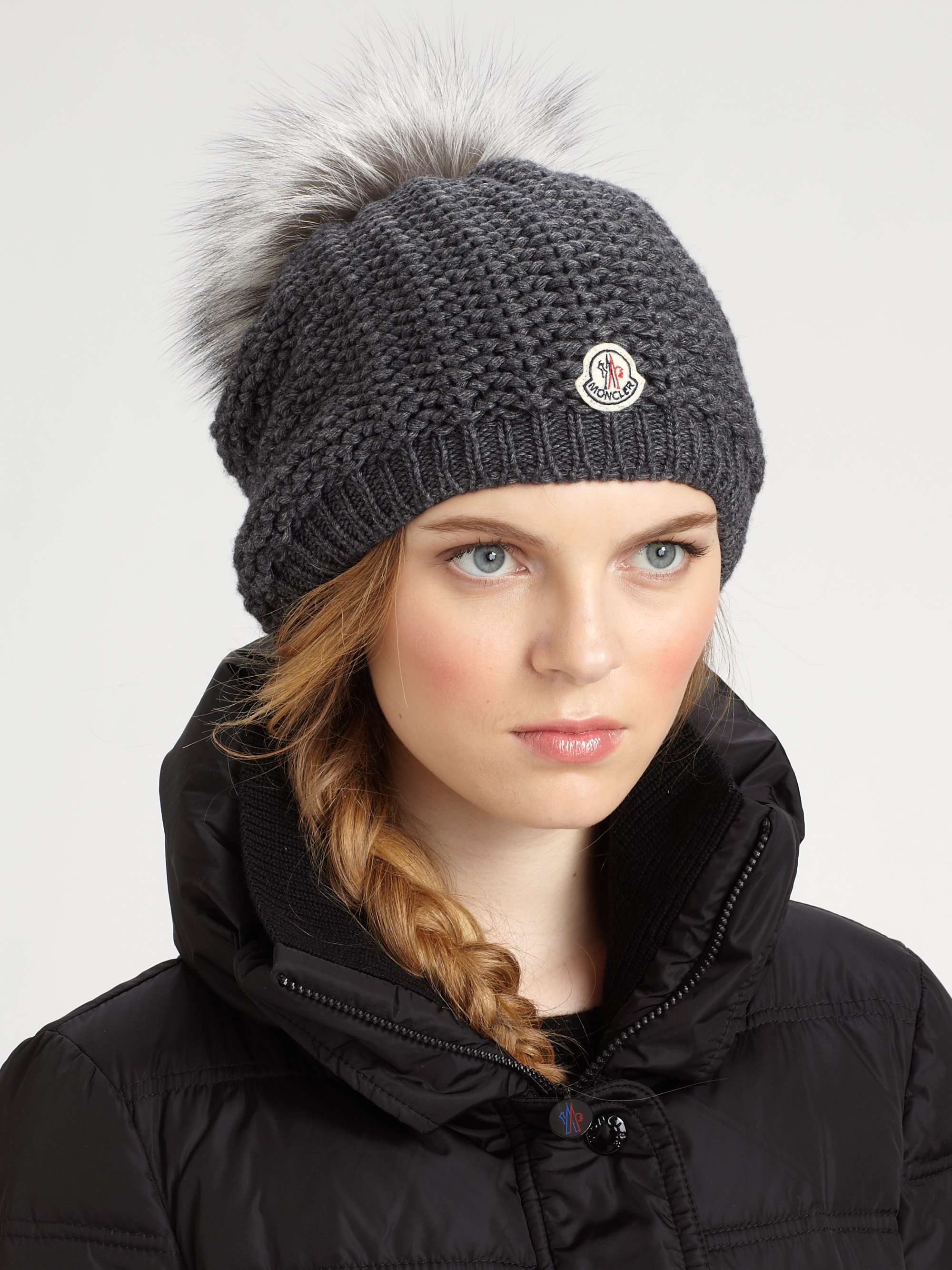 3c151640ab7 Lyst - Moncler Slouchy Hat in Gray