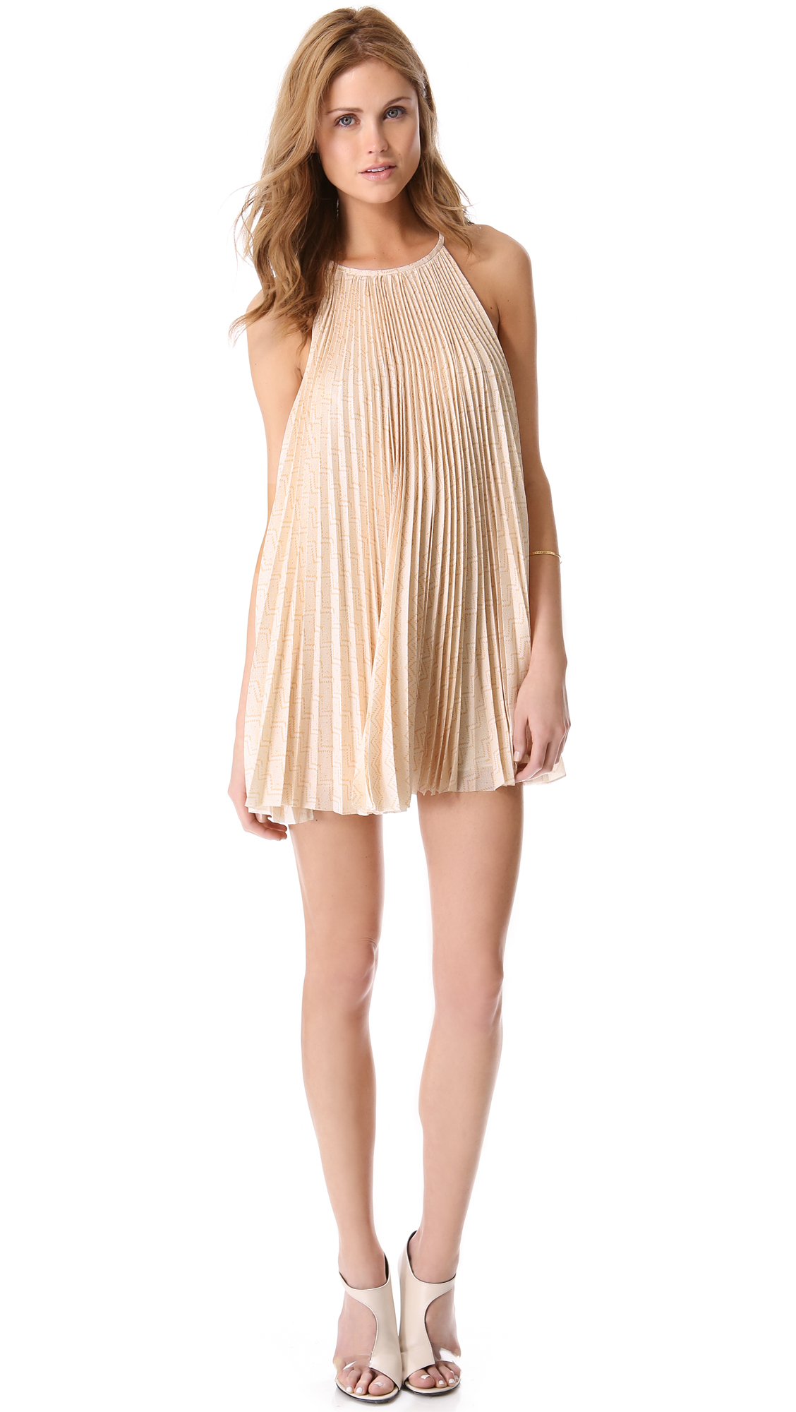 Porter Grey Pleated Trapeze Dress In Natural Lyst