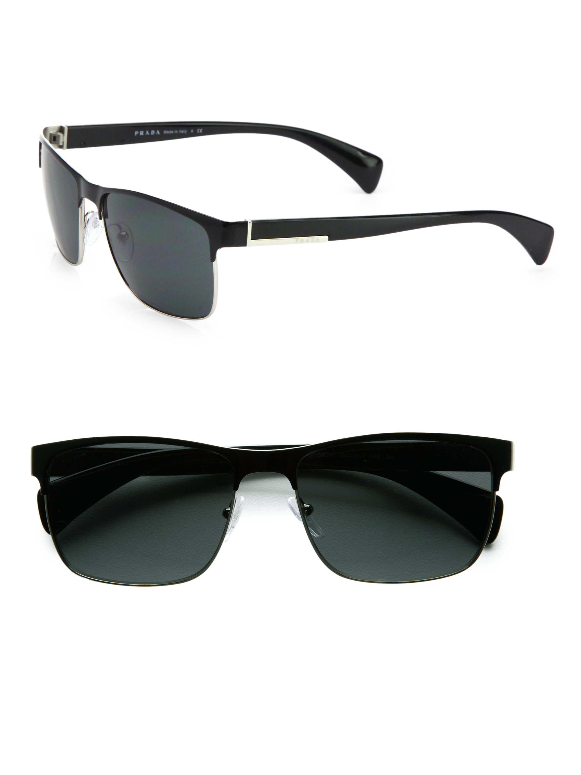Lyst - Prada Twotone Square Sunglasses in Black for Men