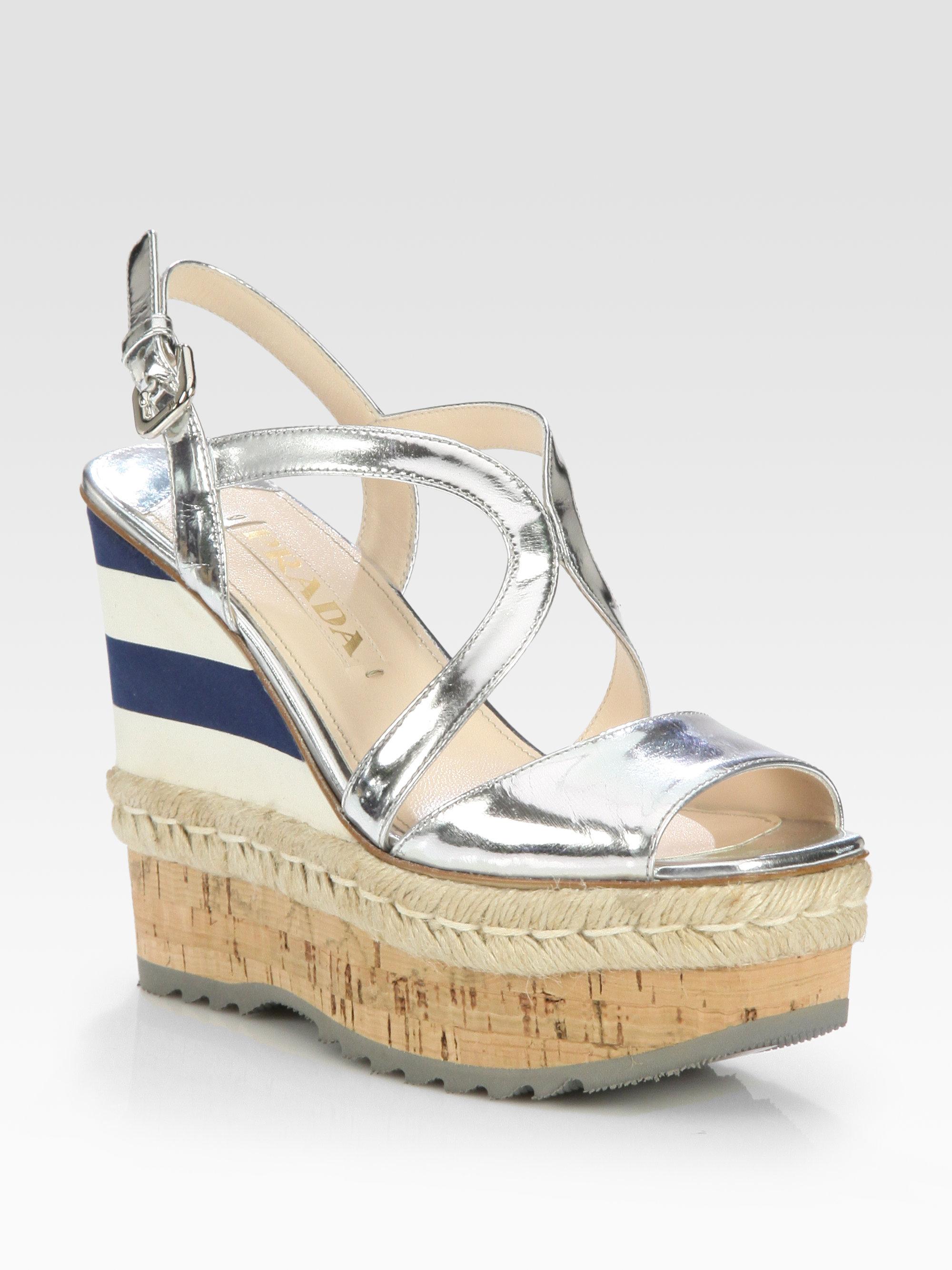 77b44de7bbf Lyst - Prada Metallic Leather Espadrille Wedge Sandals in Metallic
